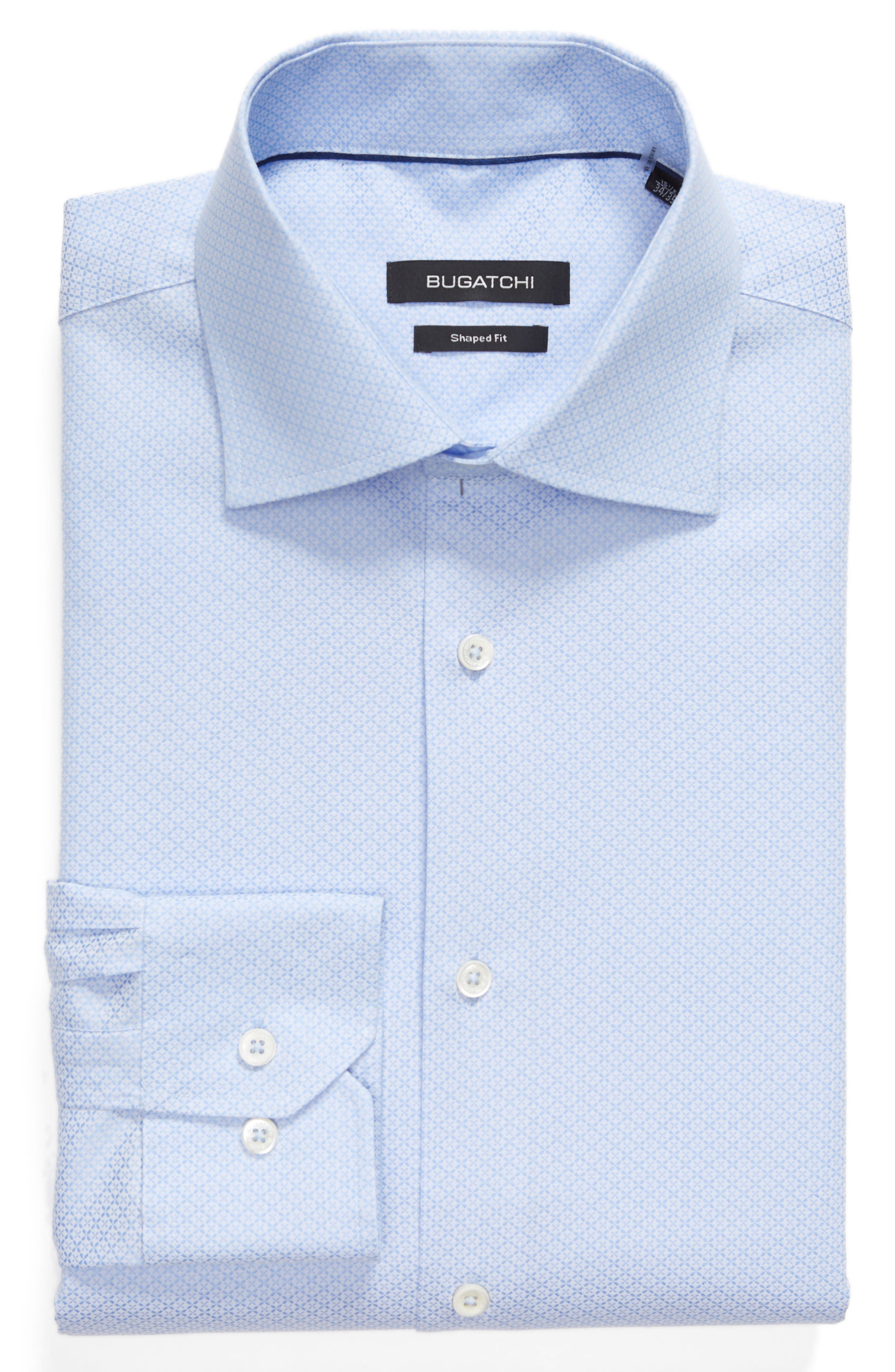 Shaped Fit Textured Dress Shirt,                             Alternate thumbnail 6, color,                             SKY