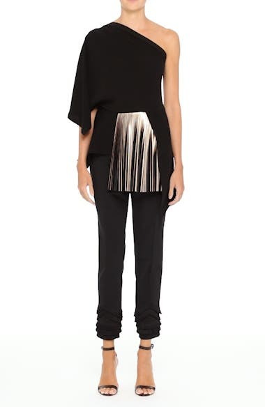 One-Shoulder Pleated Crepe Top, video thumbnail