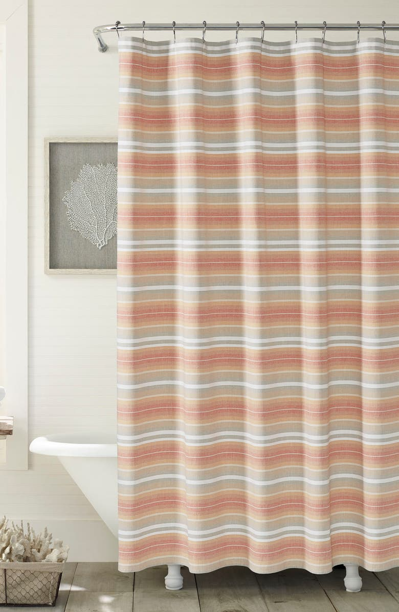 TOMMY BAHAMA Sunrise Stripe Shower Curtain Main Color BURNT CORAL
