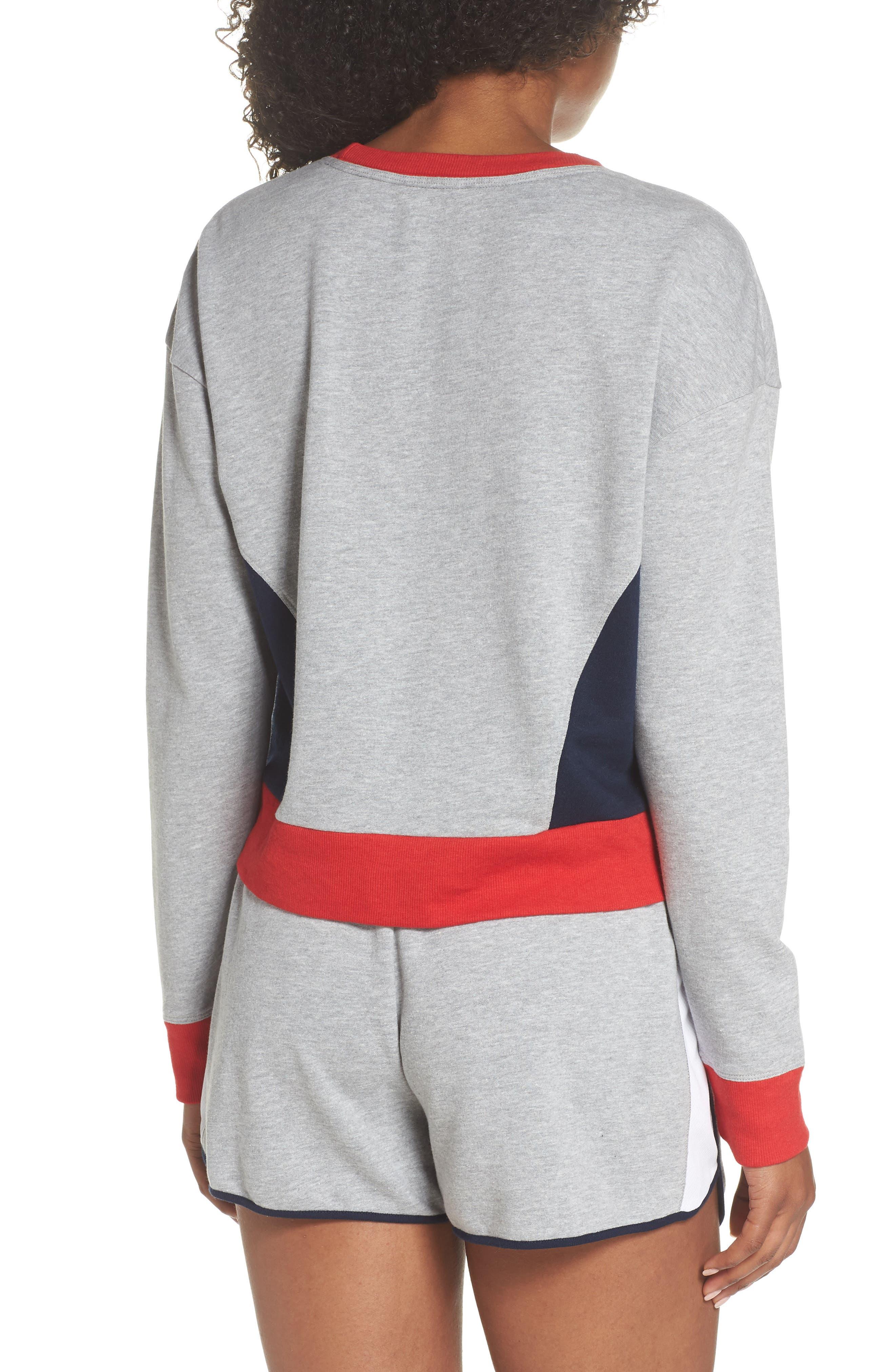 TOMMY HILFIGER,                             Crop Lounge Sweatshirt,                             Alternate thumbnail 2, color,                             025