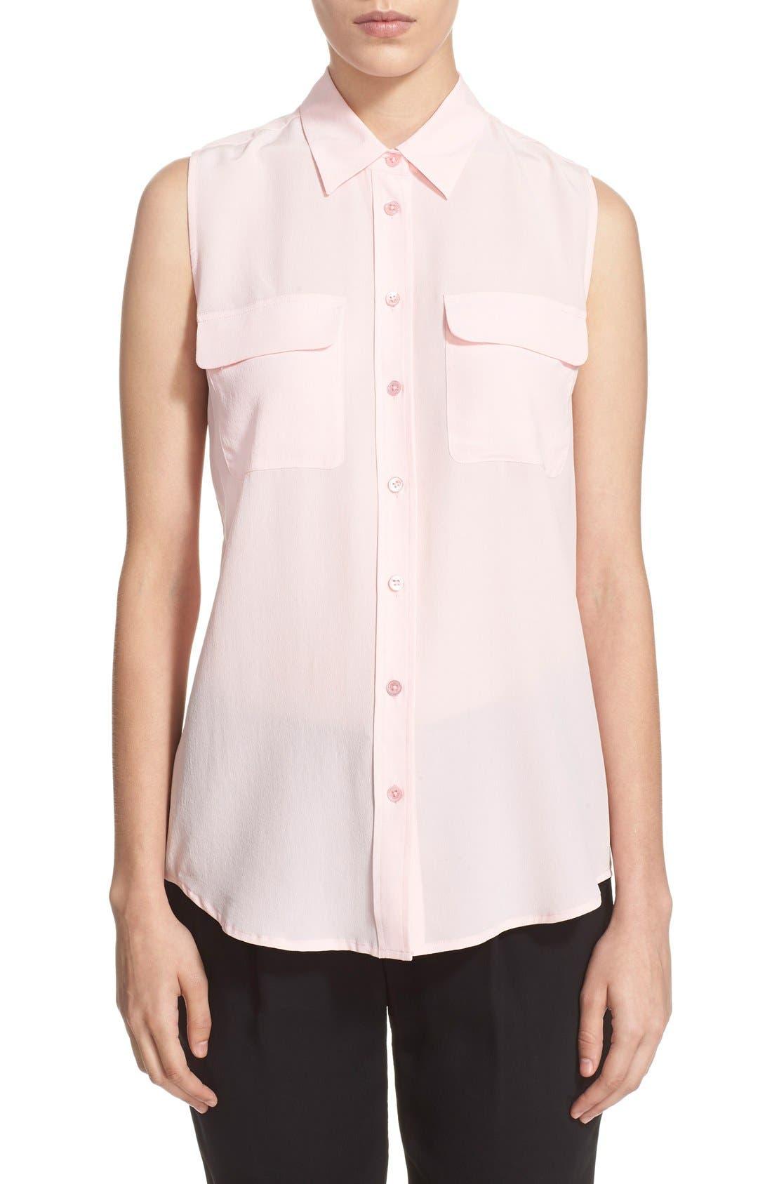 'Slim Signature' Sleeveless Silk Shirt,                             Main thumbnail 43, color,