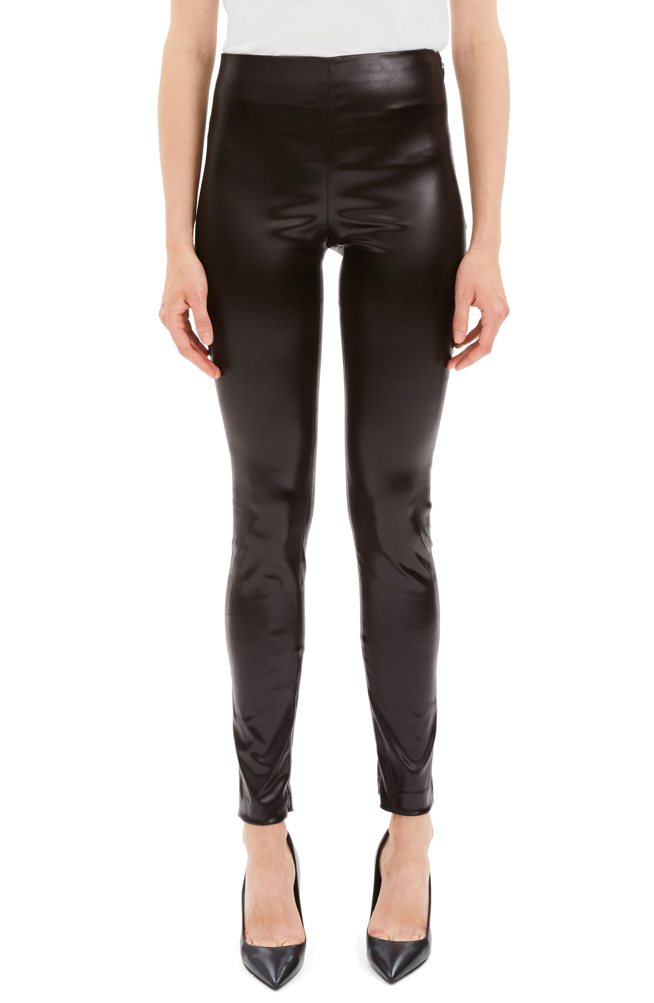 Faux Leather Leggings,                         Main,                         color, MINK BROWN