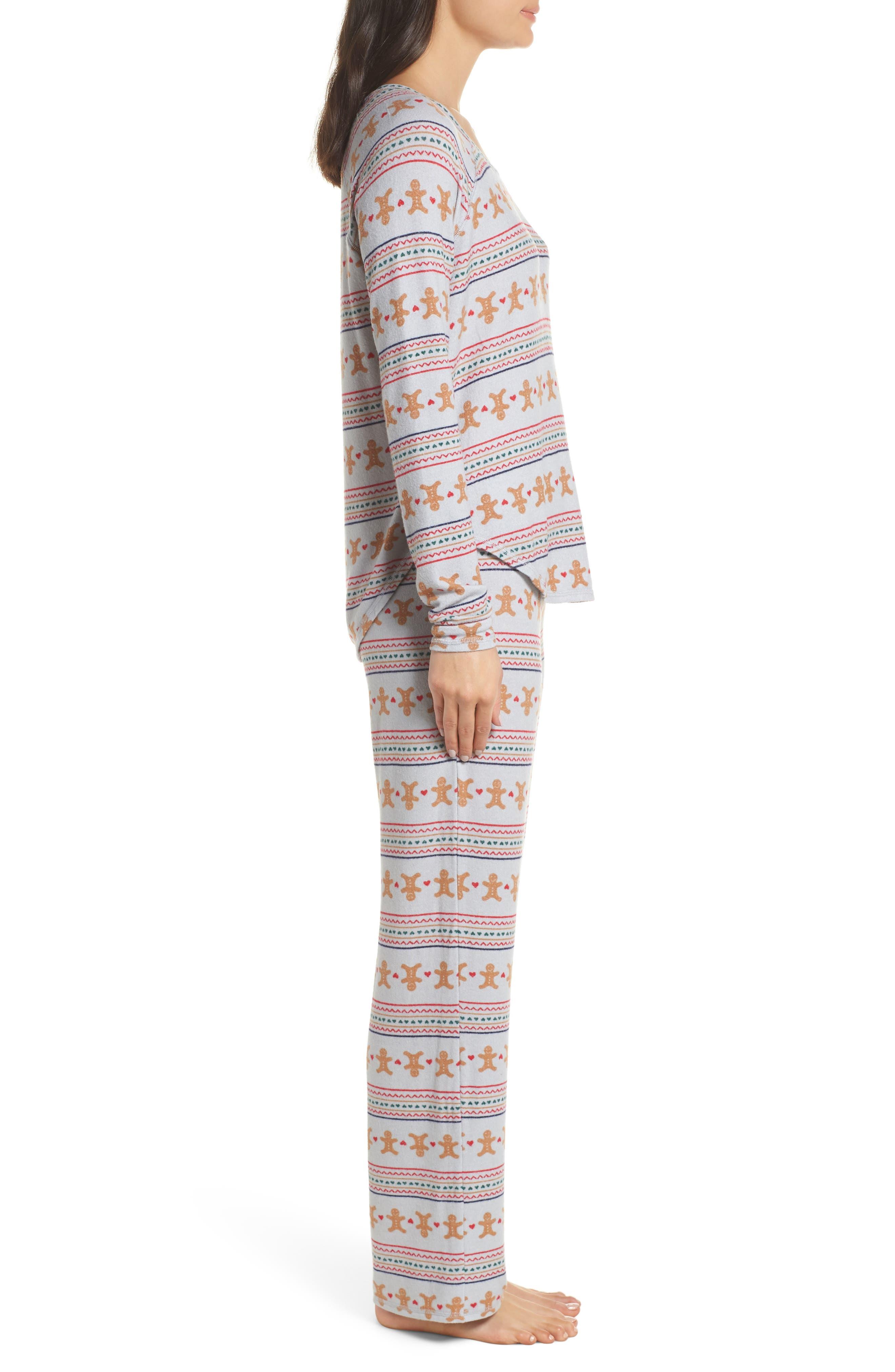 Knit Girlfriend Pajamas & Eye Mask,                             Alternate thumbnail 3, color,                             GREY MICRO GINGERBREAD