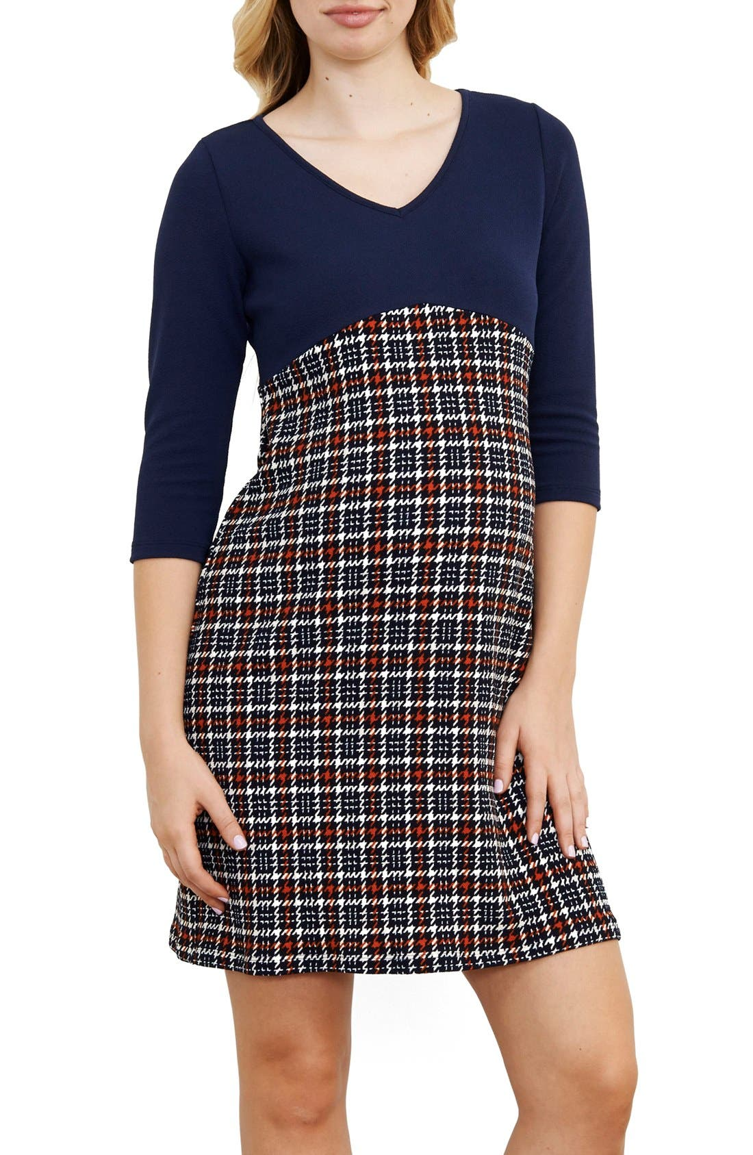Empire Waist Maternity Dress,                             Main thumbnail 1, color,                             NAVY/ ORANGE CHECKERS