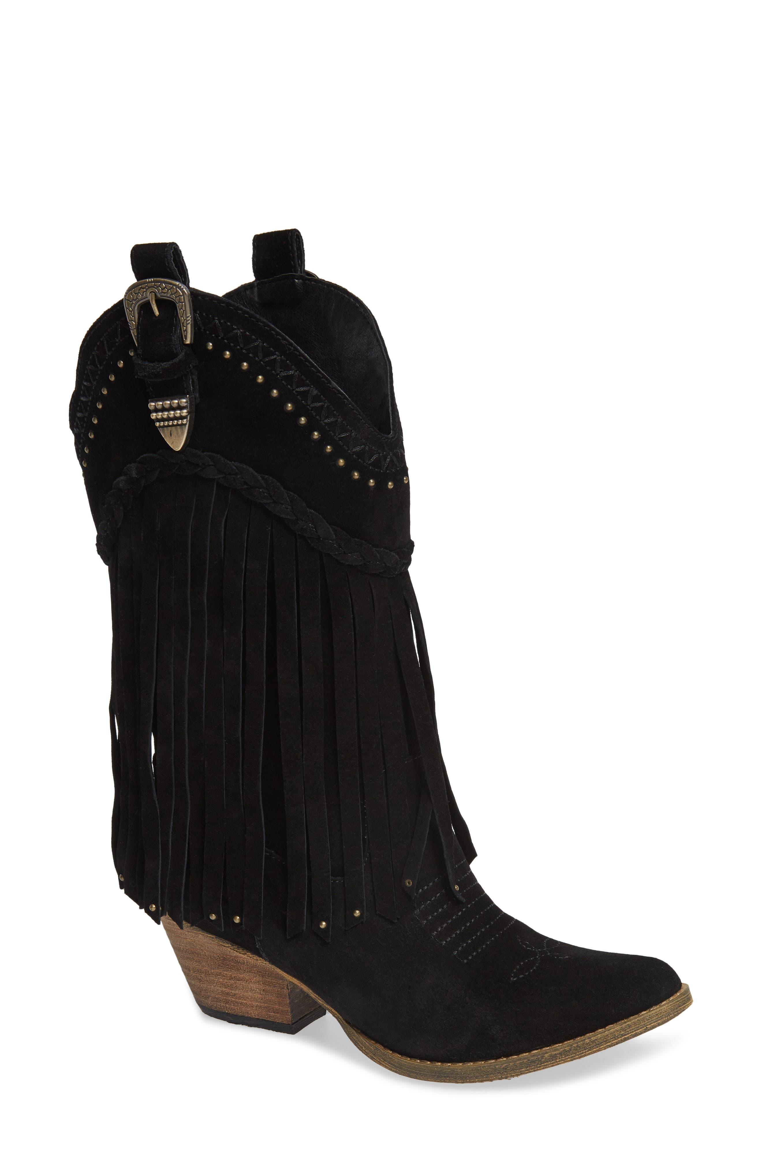 Very Volatile Anderson Fringe Western Boot, Black