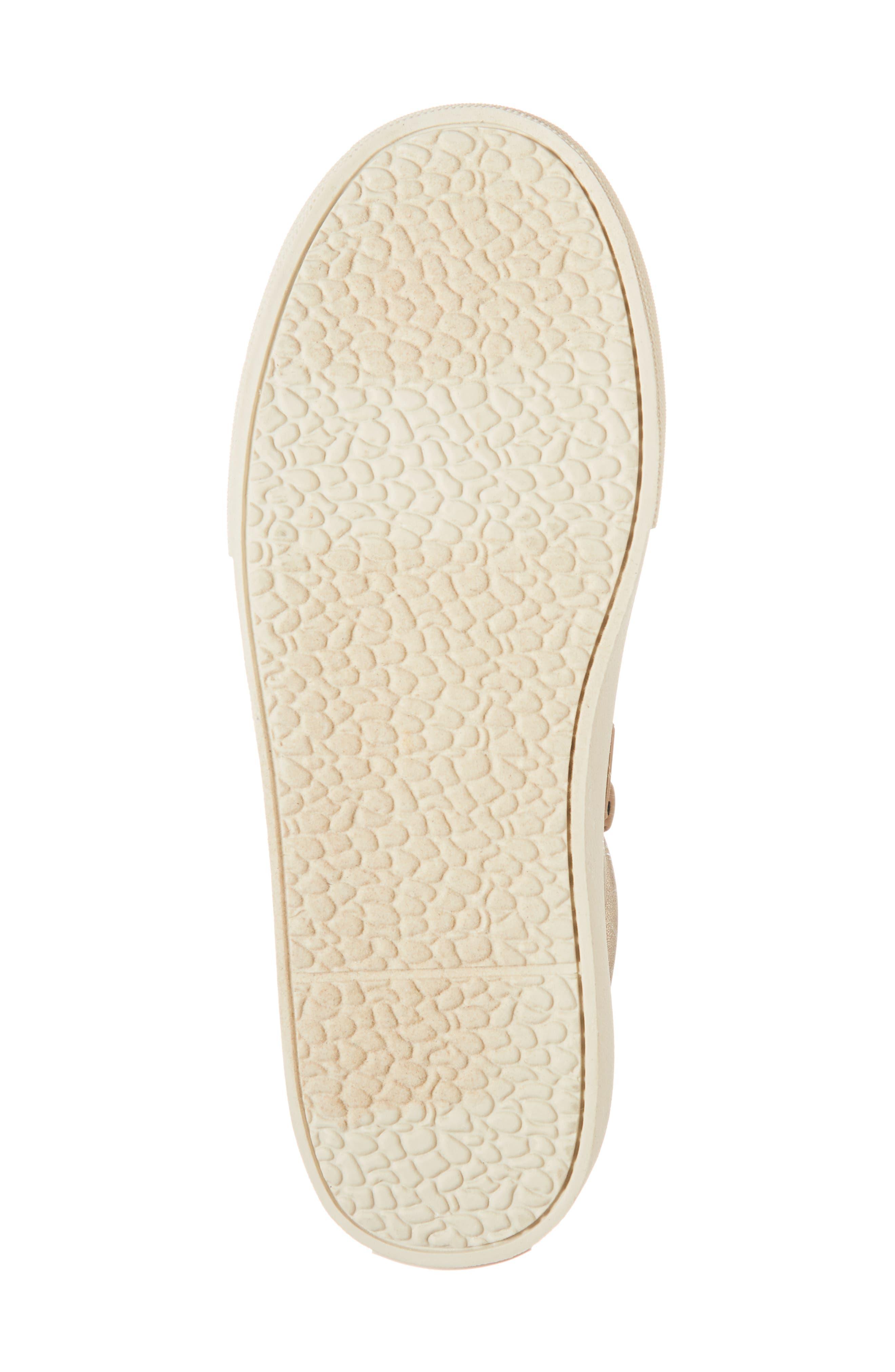 Millie Metallic Pom Sneaker,                             Alternate thumbnail 6, color,                             GOLD METALLIC FAUX LEATHER