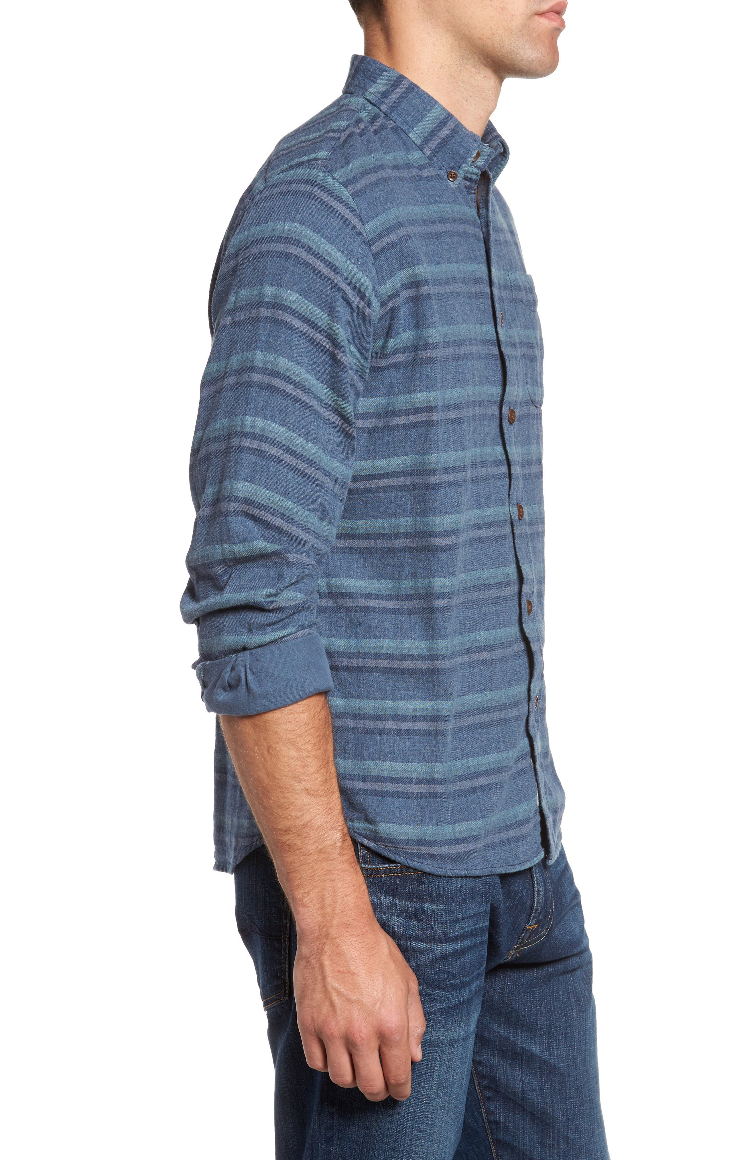 Harcourt Modern Fit Double Cloth Striped Sport Shirt,                             Alternate thumbnail 3, color,                             462