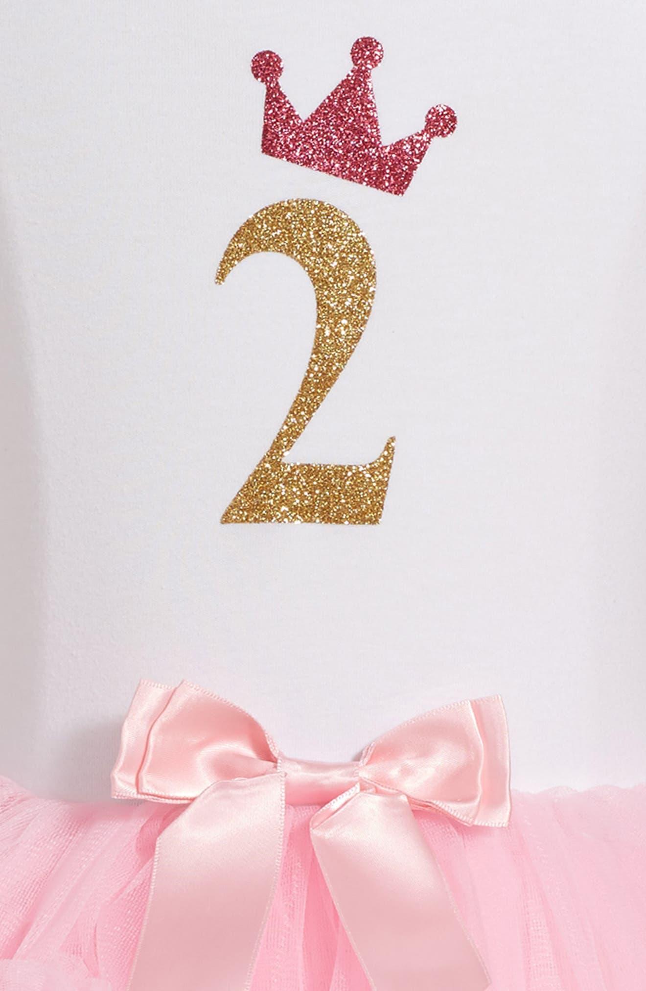 Birthday Print Tutu Dress,                             Alternate thumbnail 3, color,                             PINK