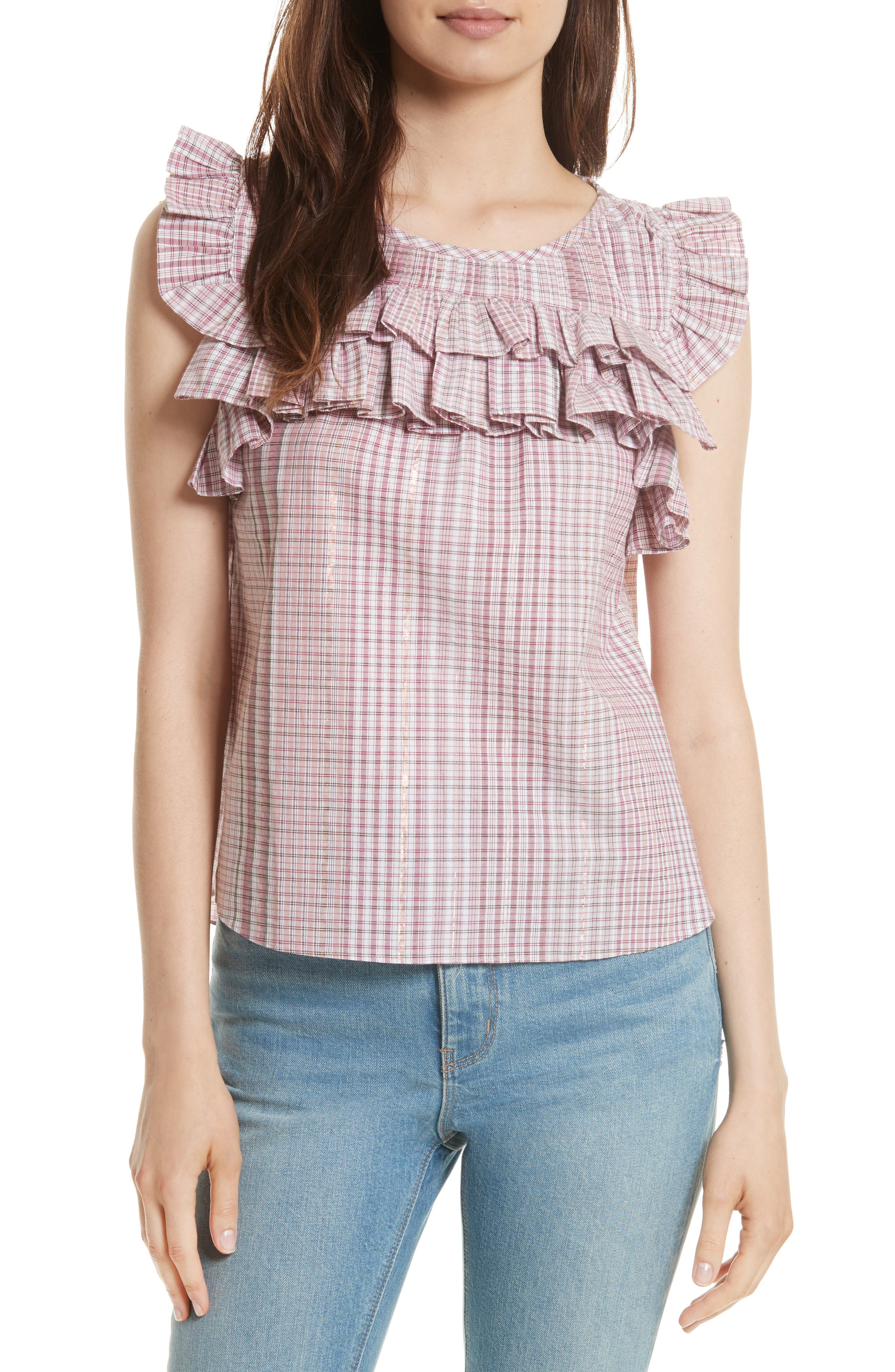 Lurex<sup>®</sup> Plaid Top,                             Main thumbnail 1, color,