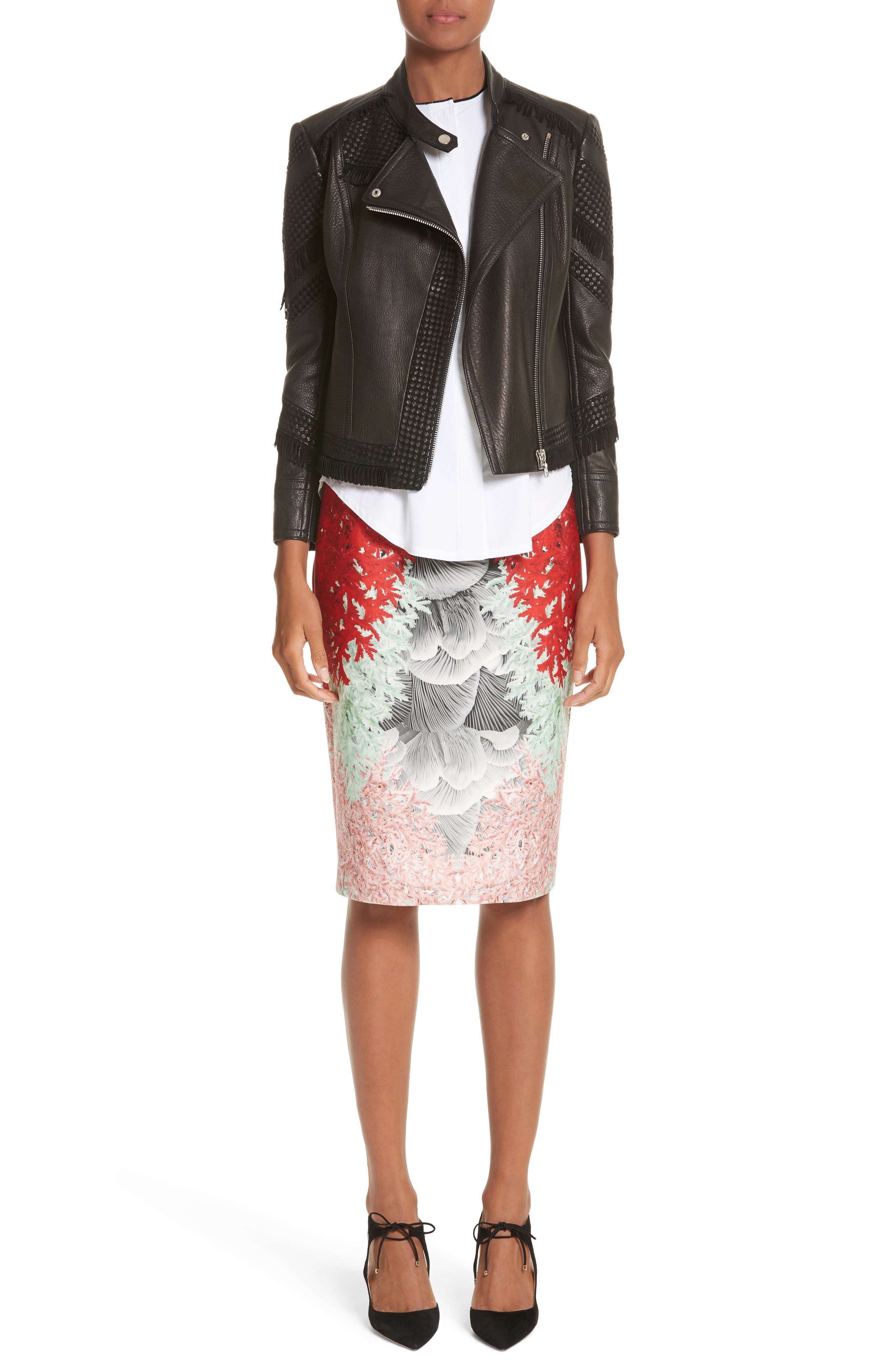 Coral Print Scuba Pencil Skirt,                             Alternate thumbnail 7, color,