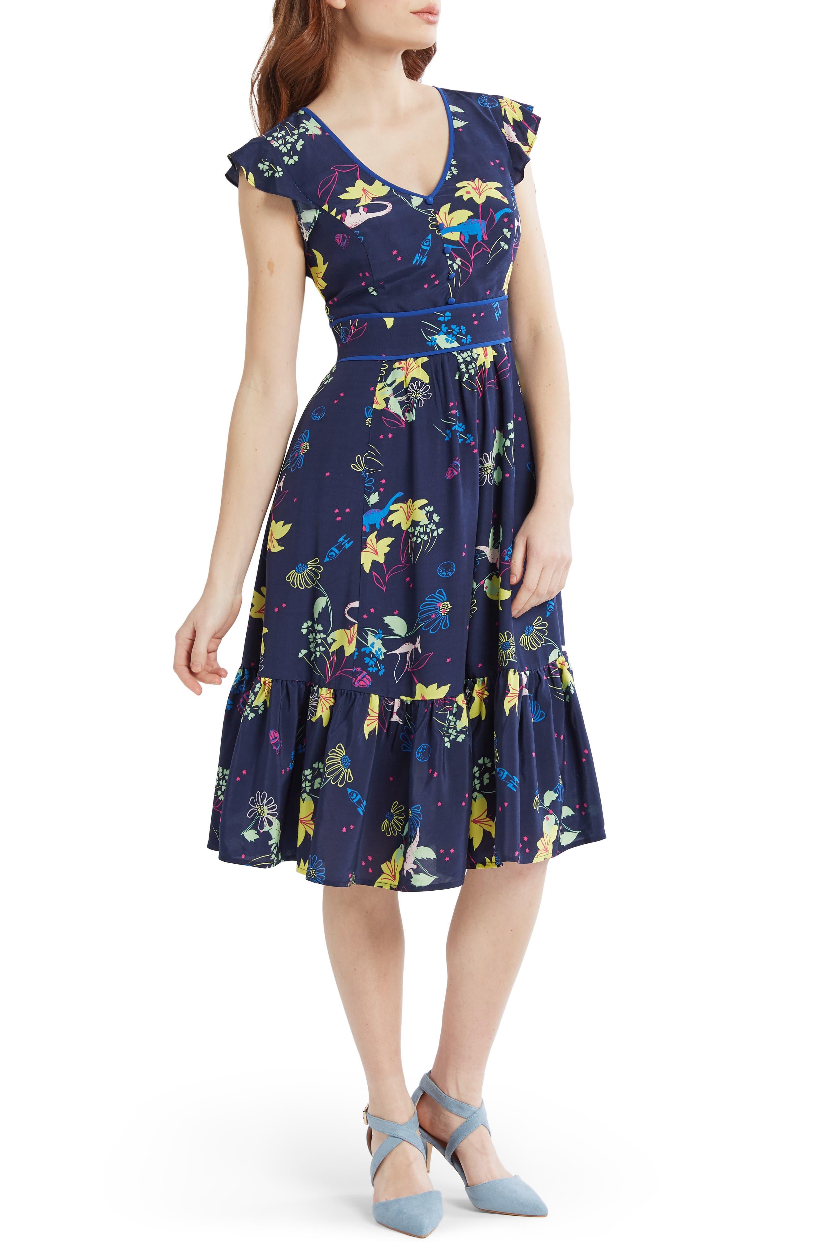 Plus Size Modcloth Print Fit & Flare Dress, Blue
