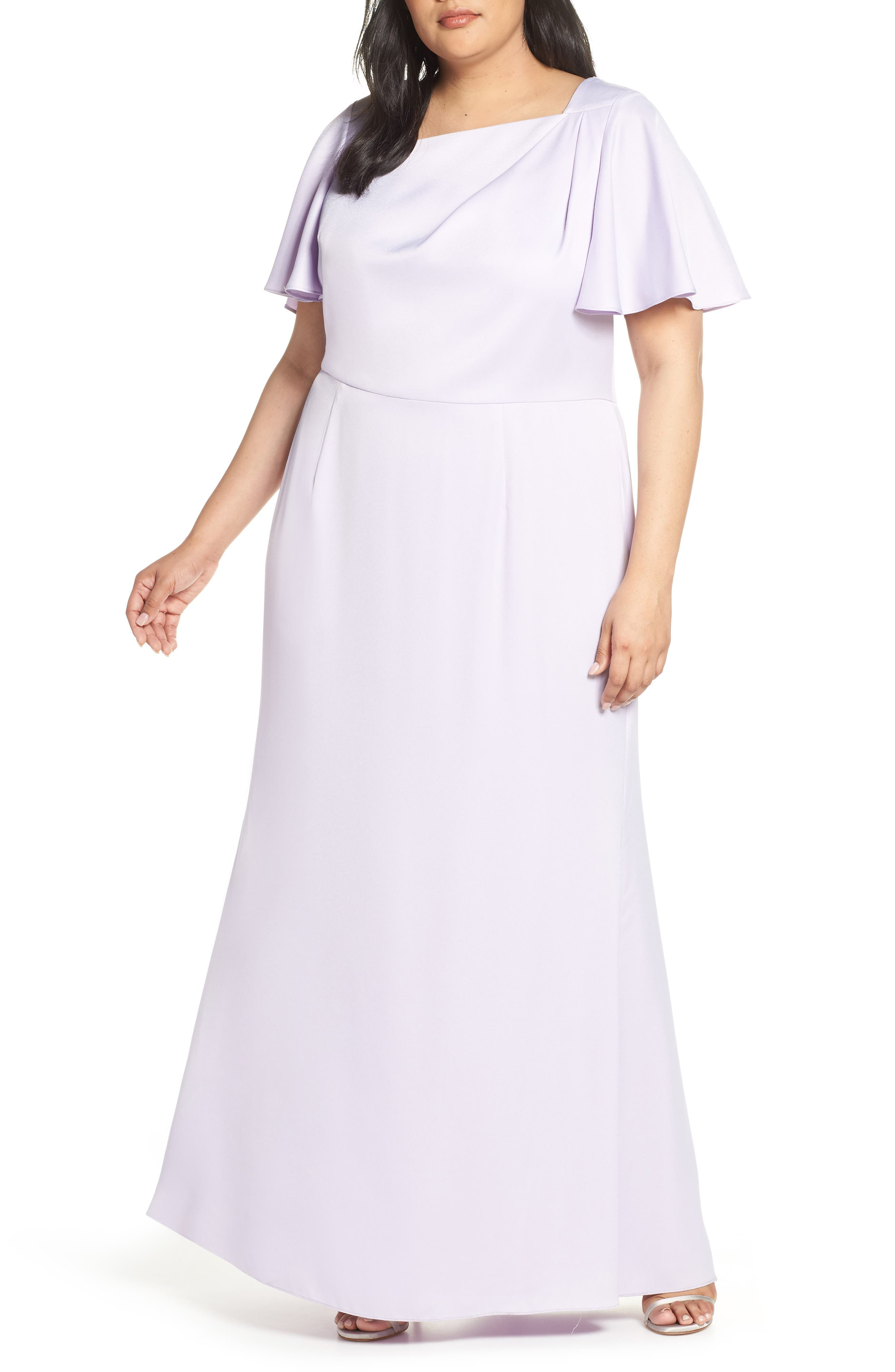 Plus Size Vince Camuto Asymmetrical Neckline Evening Dress, Purple