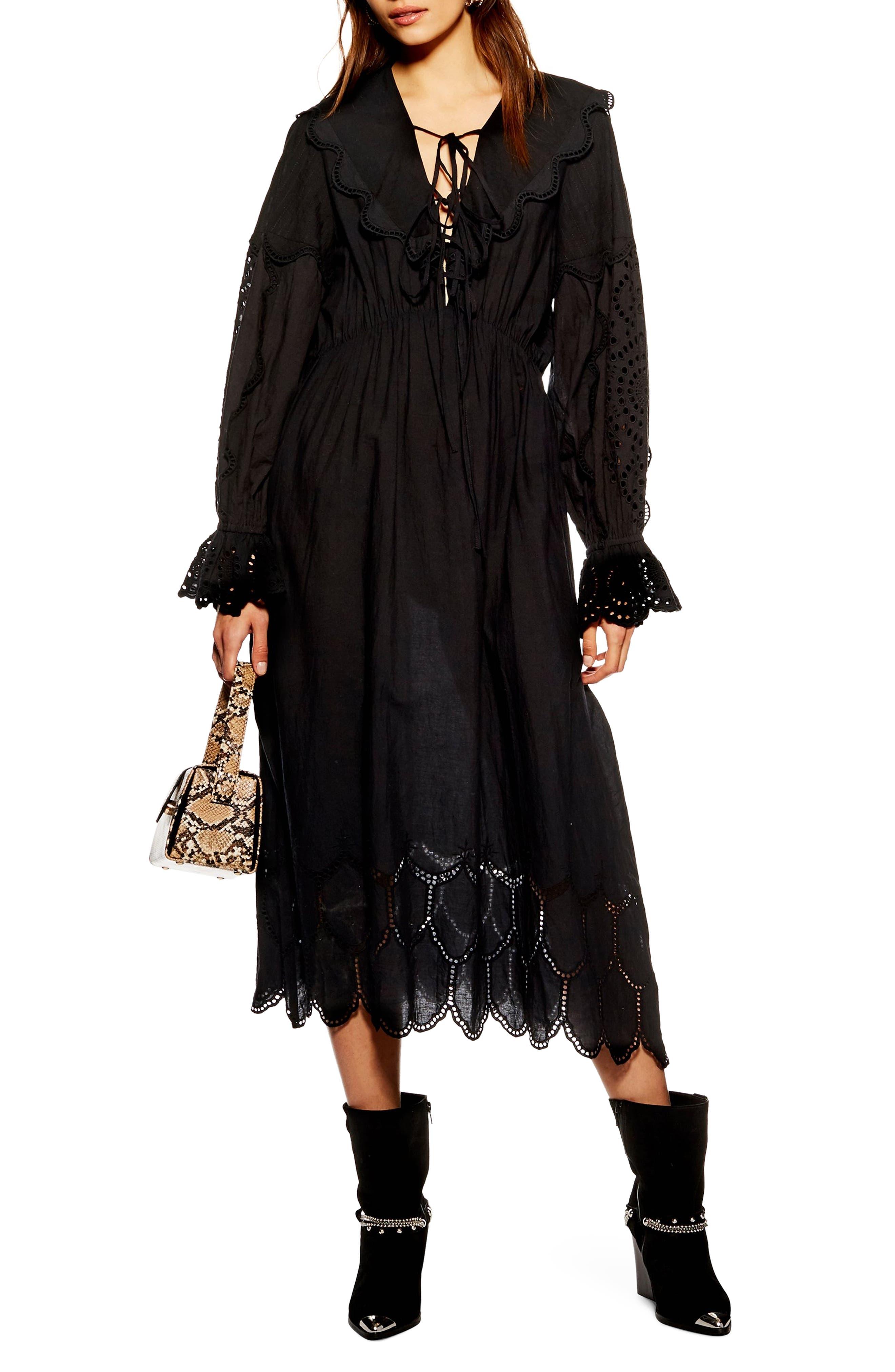 Topshop Broderie Midi Dress, US (fits like 6-8) - Black