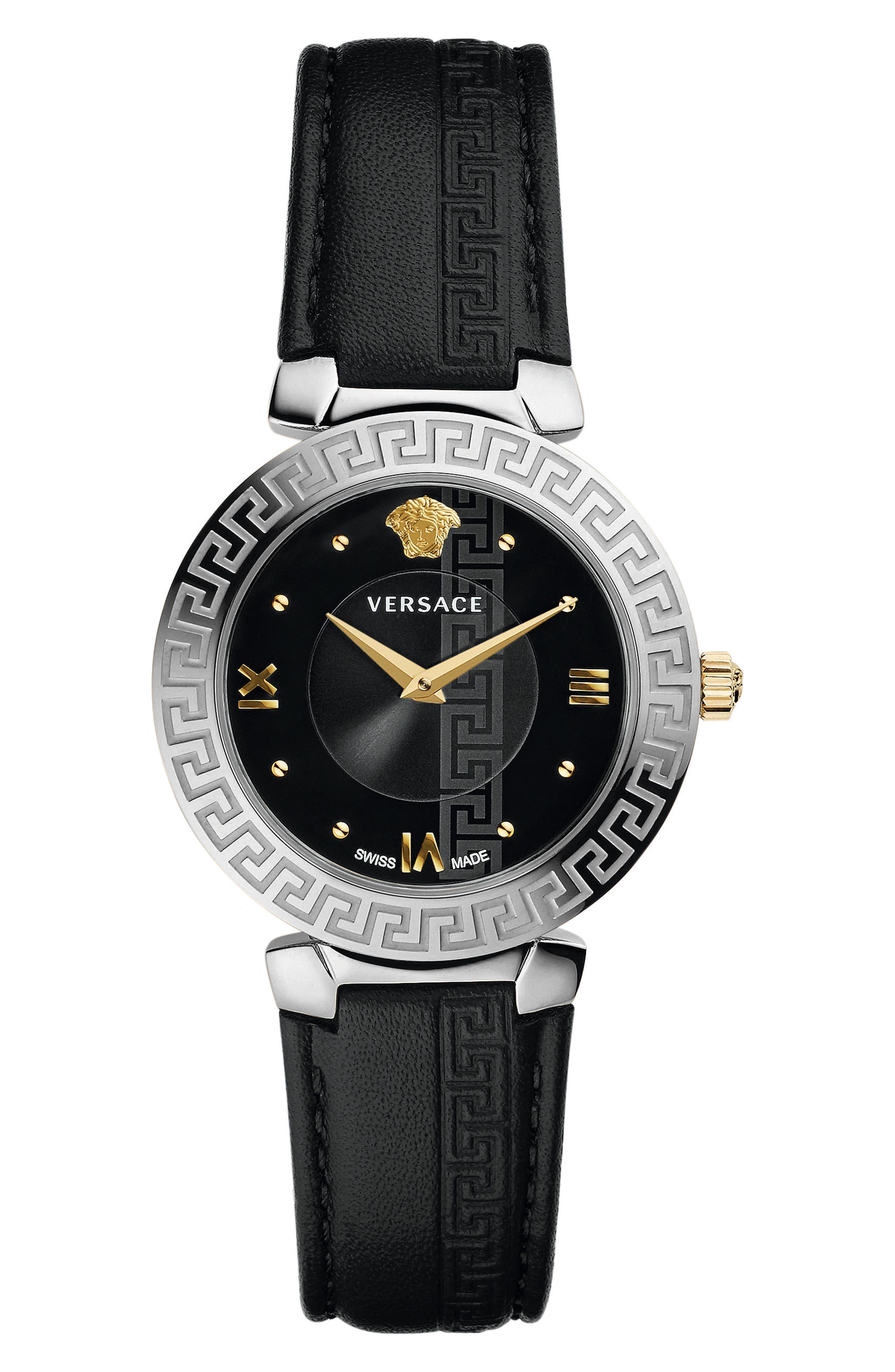 35Mm Daphnis Leather Greca Watch, Black/Silver in Black/ Silver