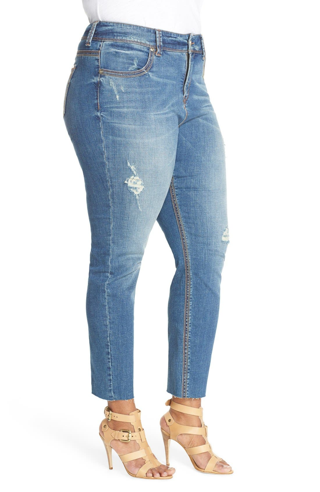 Distressed Pencil Leg Jeans,                             Alternate thumbnail 5, color,                             433