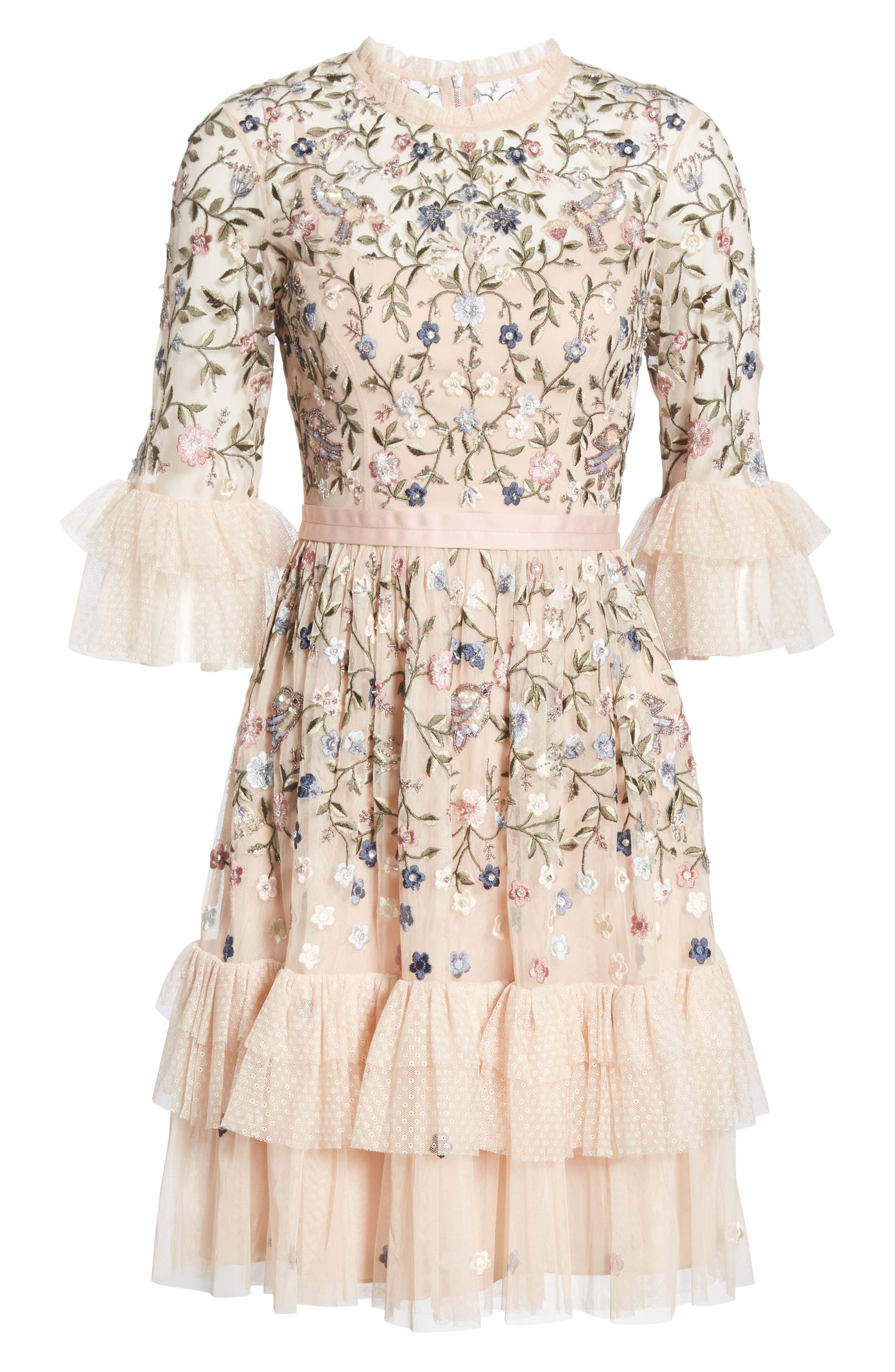 Dusk Floral A-Line Dress,                             Alternate thumbnail 6, color,                             ROSE QUARTZ