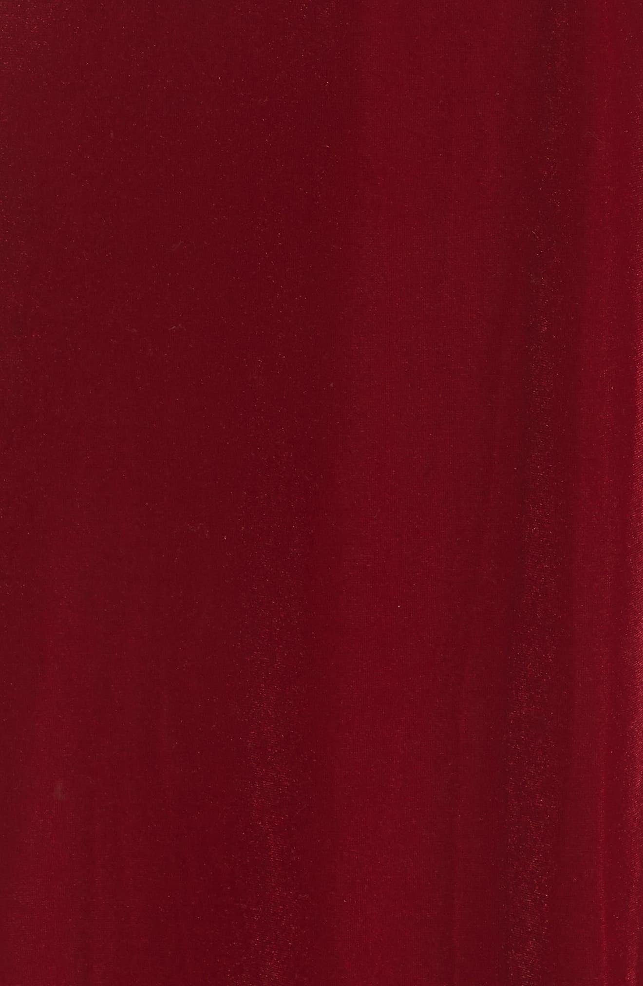 Velvet Midi Dress,                             Alternate thumbnail 6, color,                             RED TIBETAN