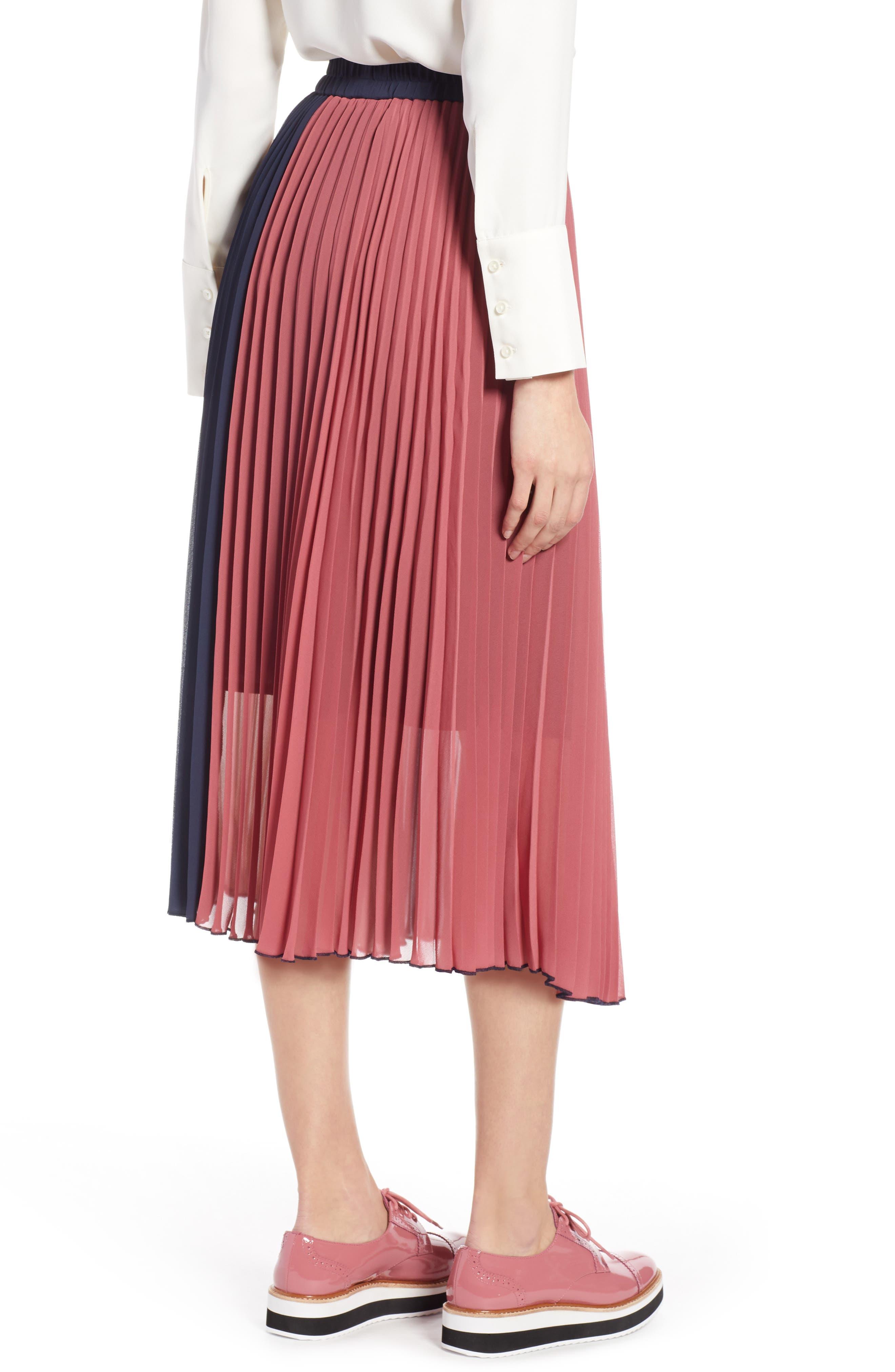 x Atlantic-Pacific Colorblock Pleated Midi Skirt,                             Alternate thumbnail 3, color,                             PINK- NAVY COLORBLOCK