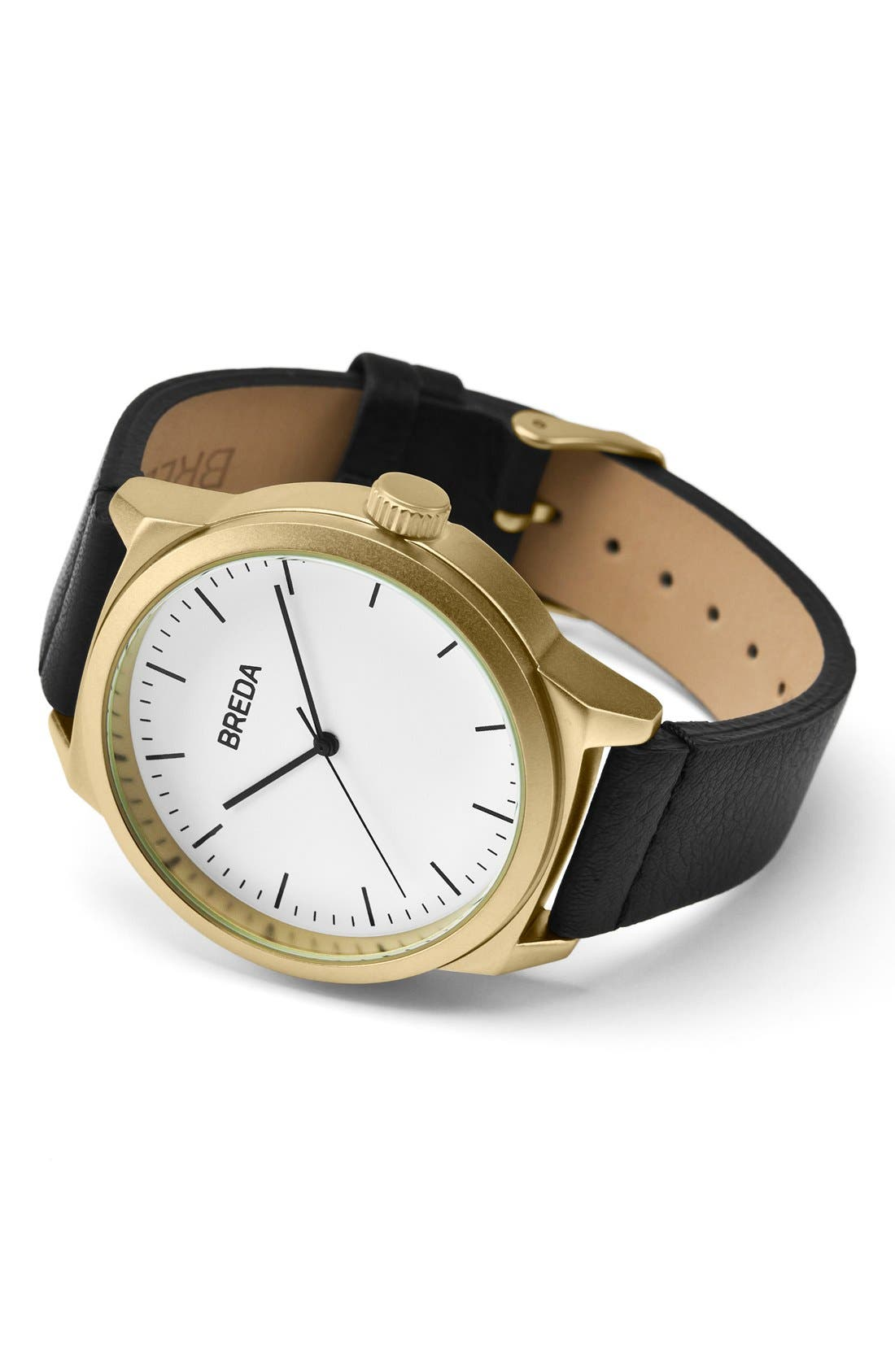 Rand Round Leather Strap Watch, 43mm,                             Alternate thumbnail 2, color,