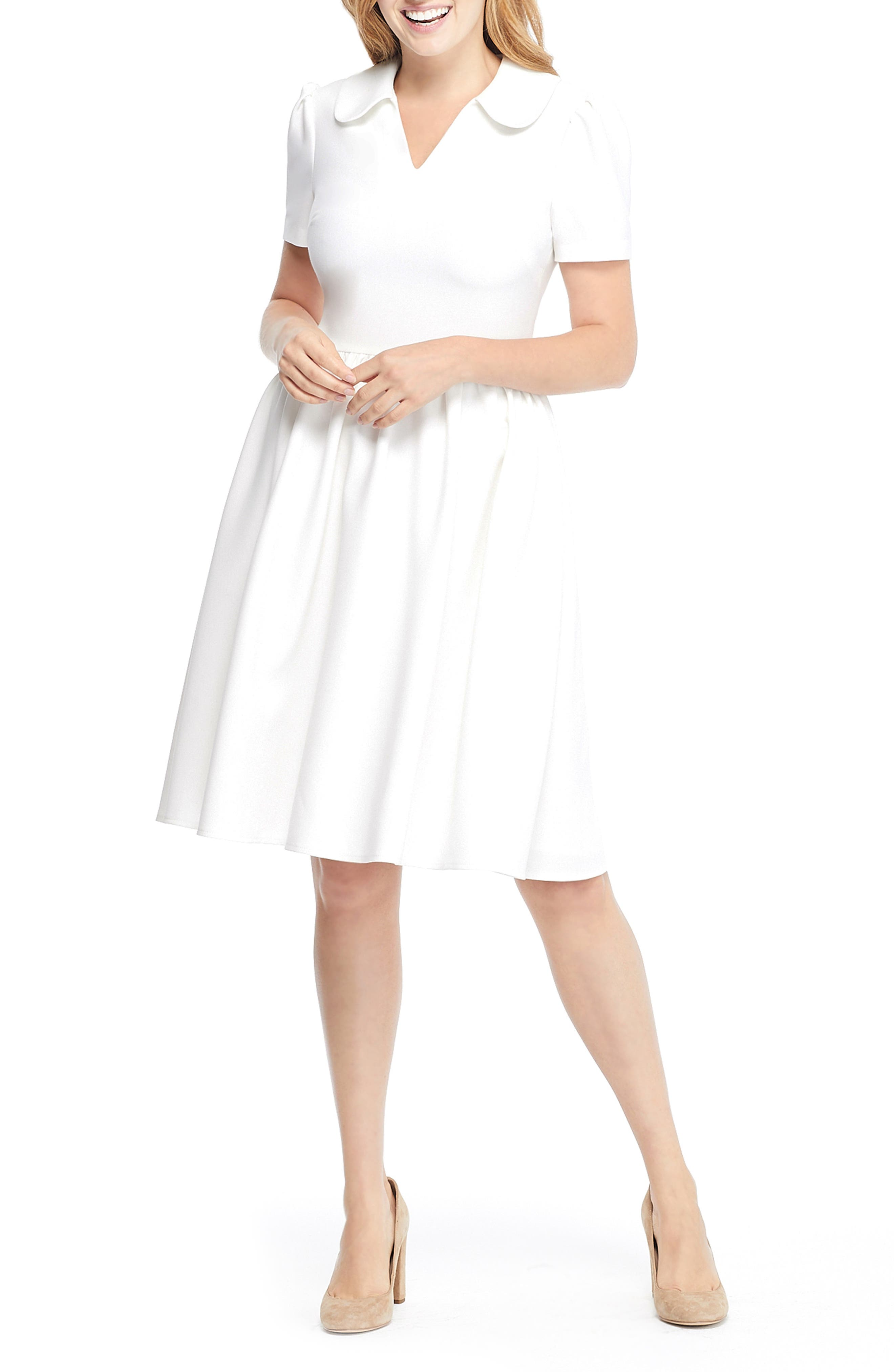 Gal Meets Glam Collection Alison Box Weave Crepe Dress, Ivory