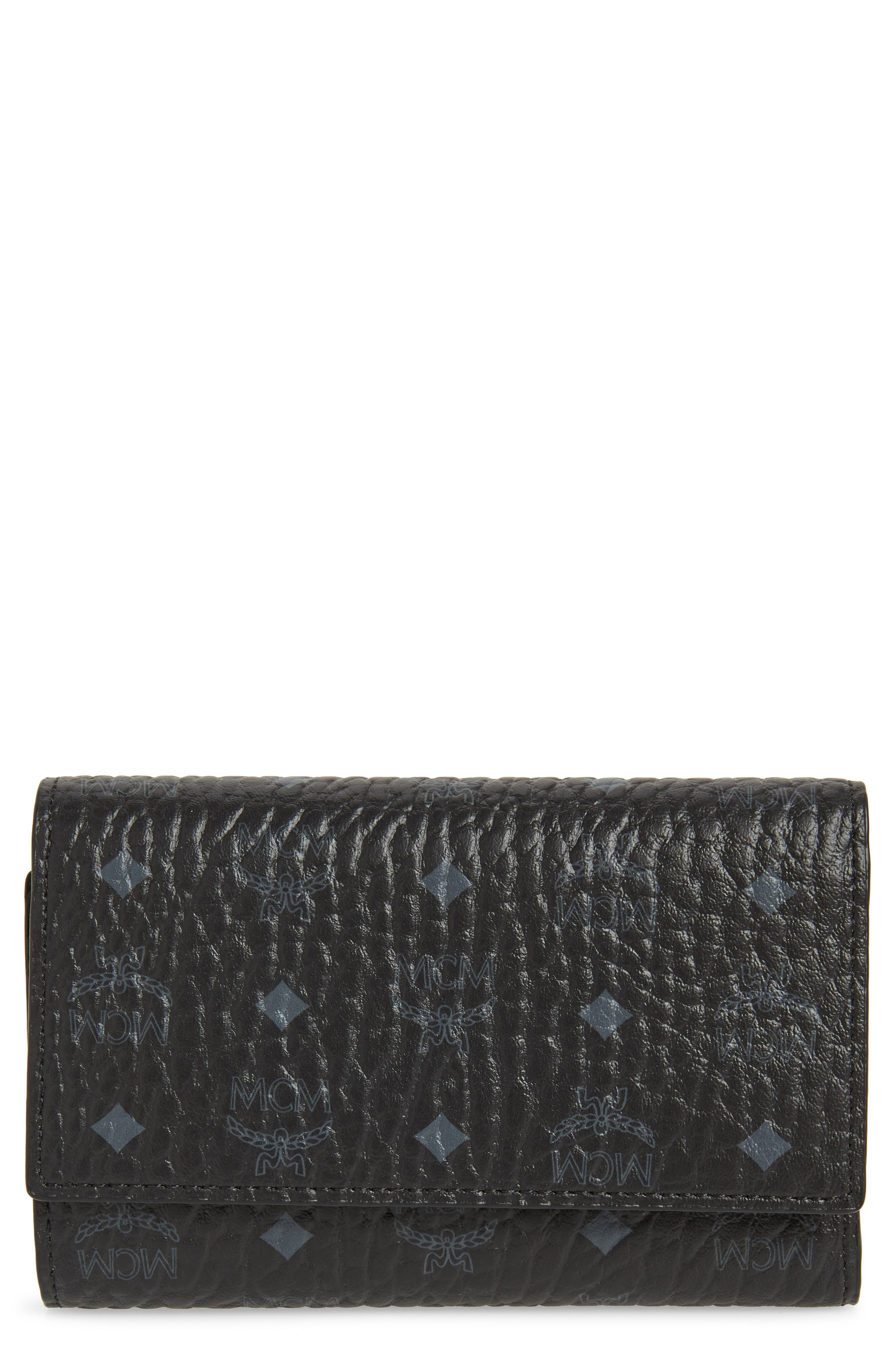 Small French Trifold Wallet,                             Main thumbnail 1, color,                             BLACK