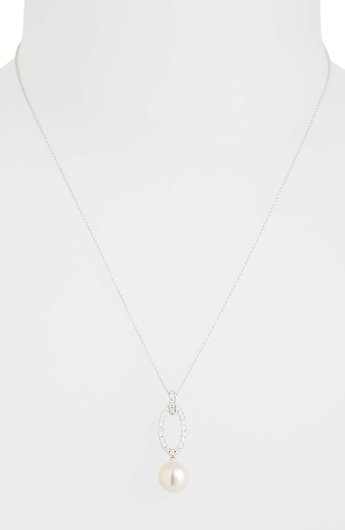 Diamond & Akoya Cultured Pearl Pendant Necklace,                             Main thumbnail 1, color,                             WHITE GOLD