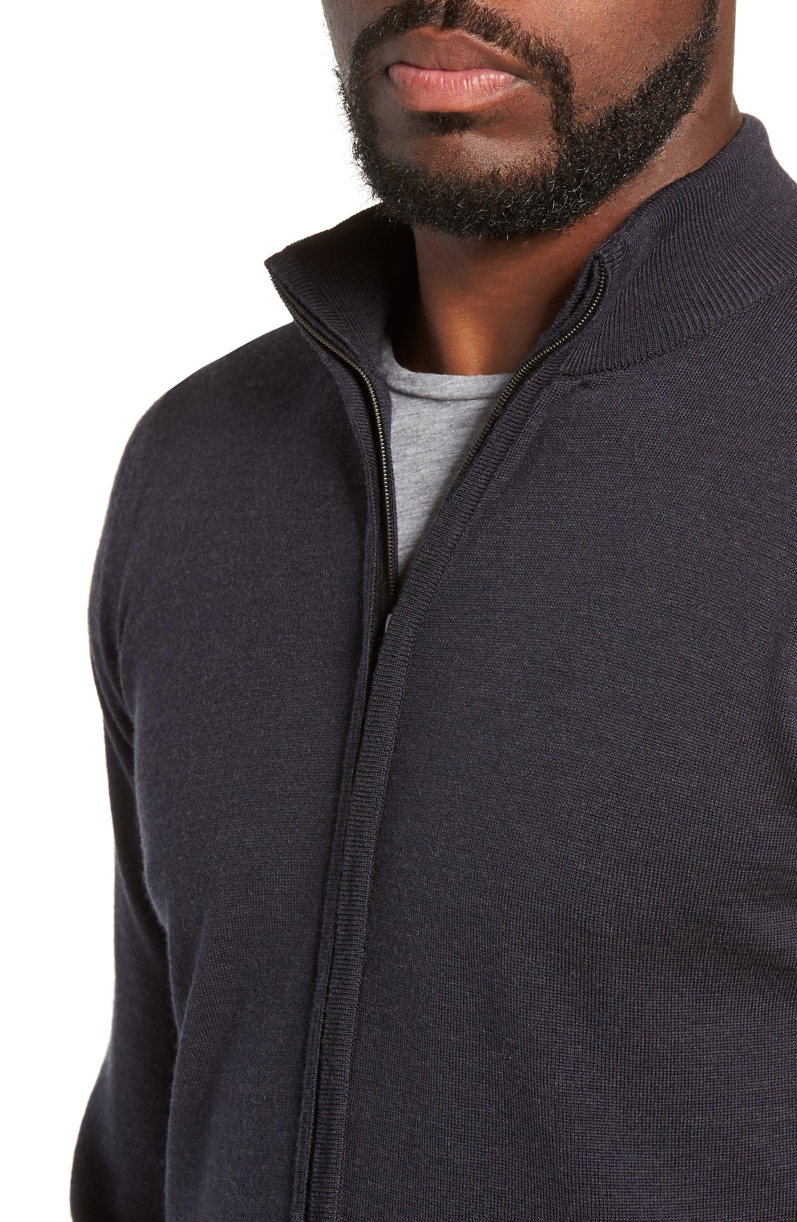 Claygate Slim Fit Merino Wool Zip Jacket,                             Alternate thumbnail 4, color,                             HEPBURN SMOKE