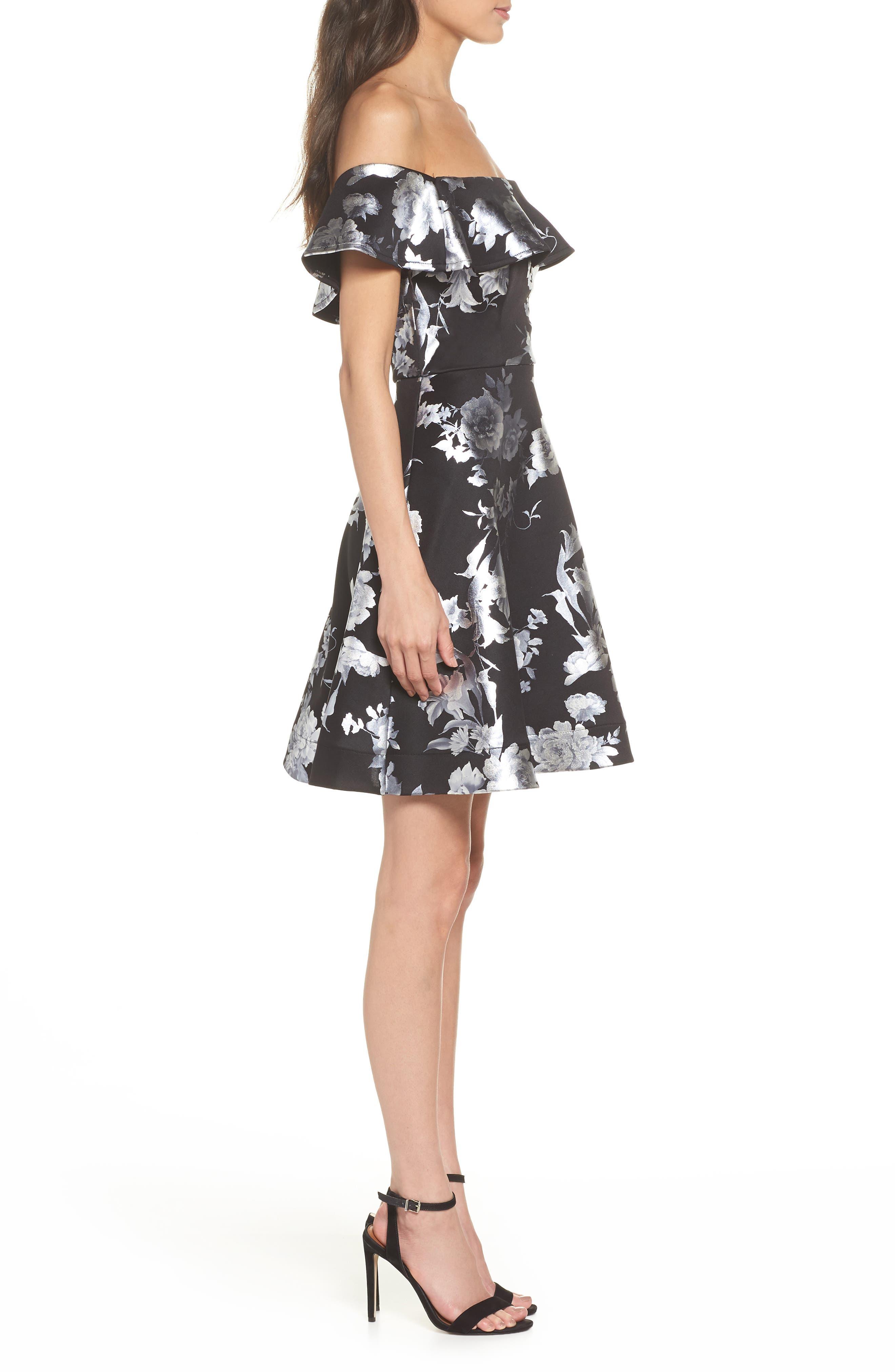 Off the Shoulder Foil Scuba Fit & Flare Dress,                             Alternate thumbnail 3, color,                             BLACK/ SILVER