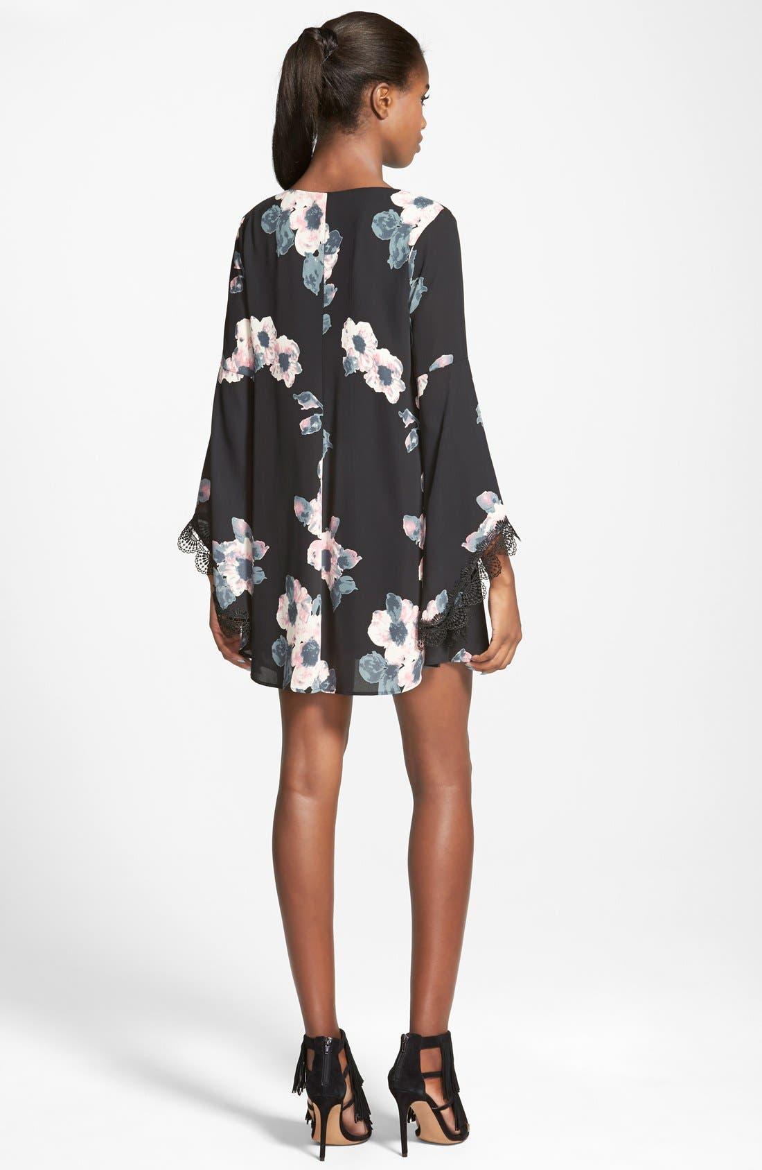 ASTR Lace Trim Shift Dress,                             Alternate thumbnail 2, color,                             001