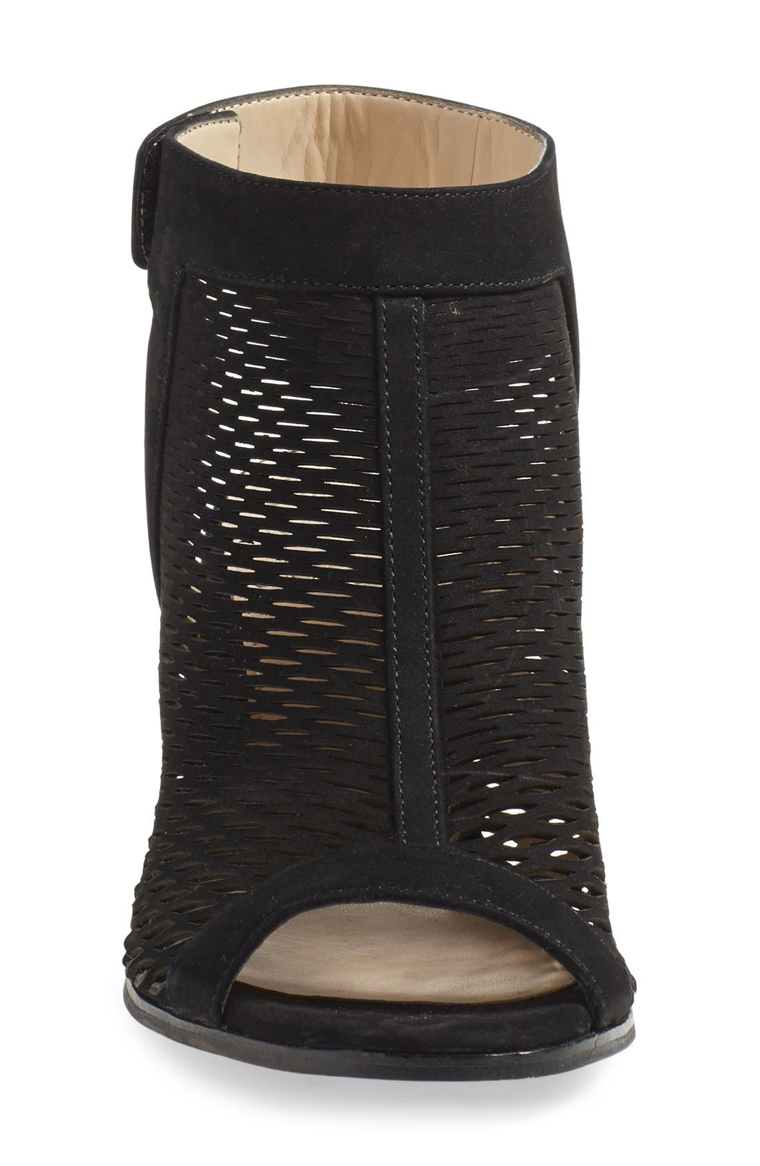 'Lavette' Perforated Peep Toe Bootie,                             Alternate thumbnail 4, color,                             001
