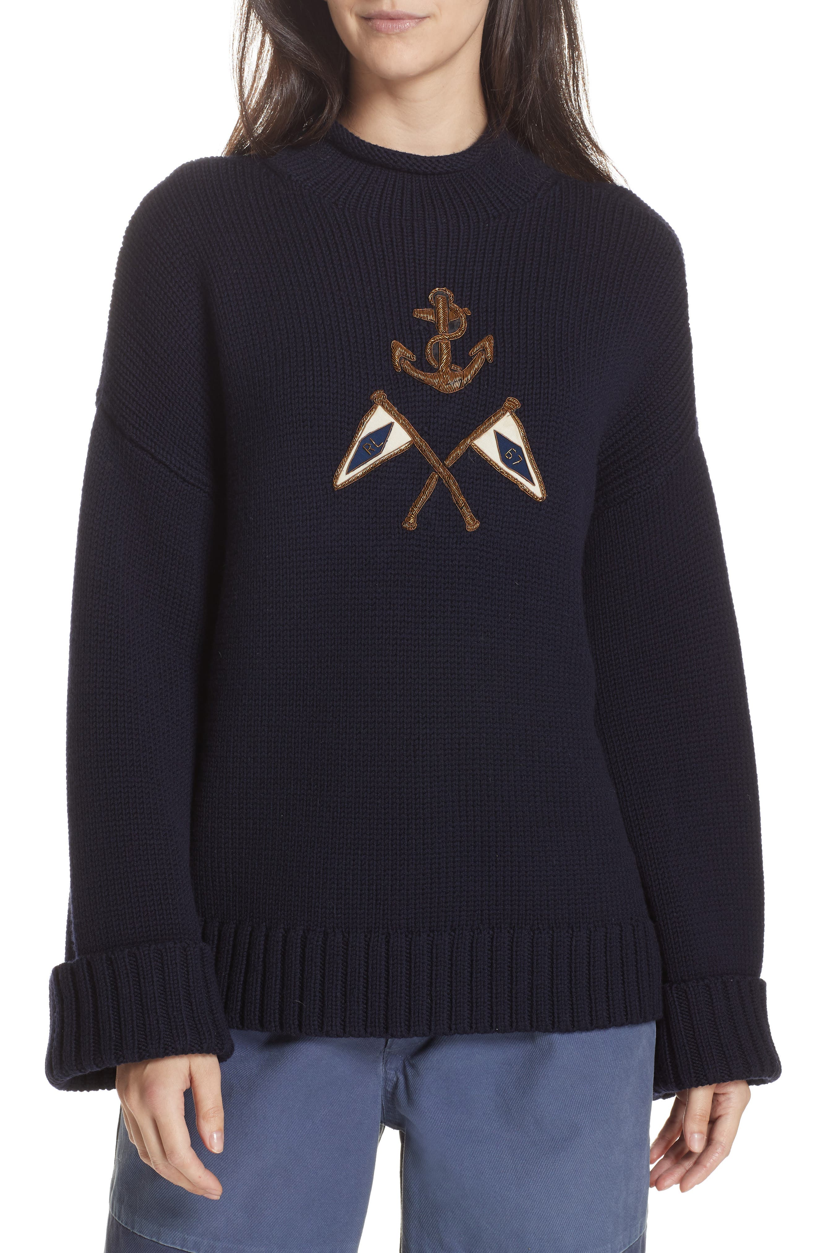 Crest Logo Wool Sweater,                             Main thumbnail 1, color,                             NAVY
