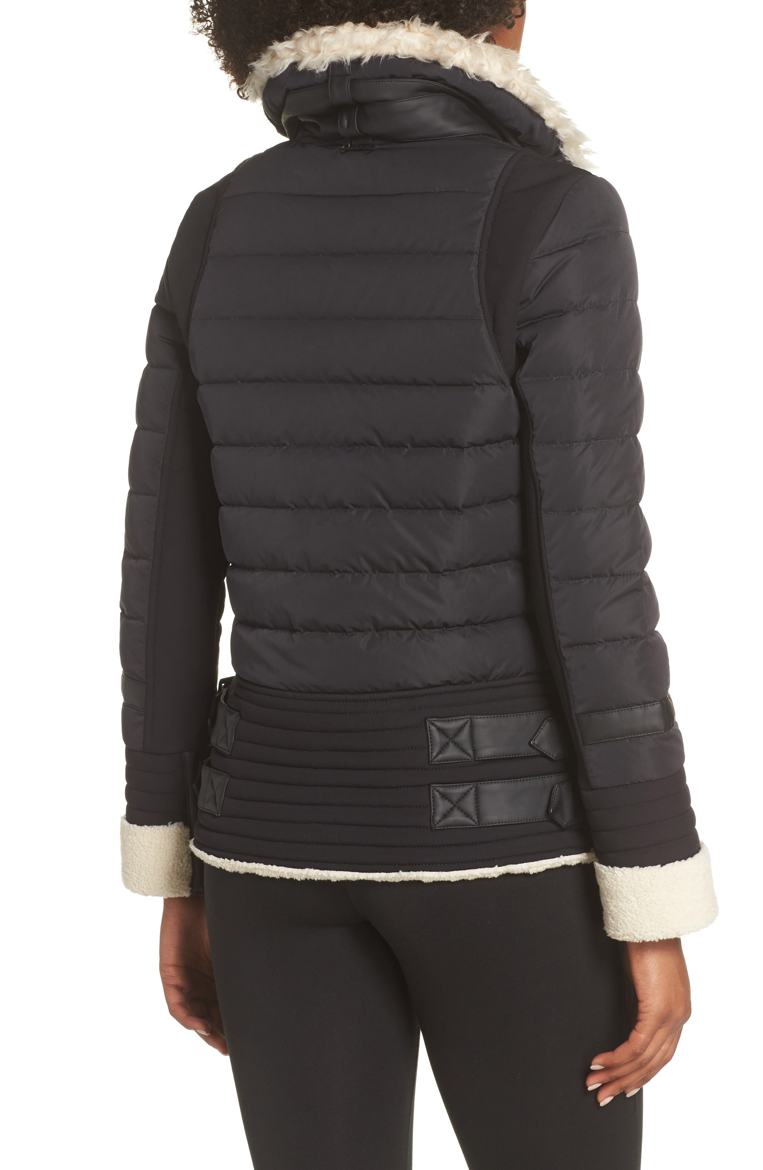 BLANC NOIR,                             Moto Aviator Puffer Jacket,                             Alternate thumbnail 2, color,                             BLACK