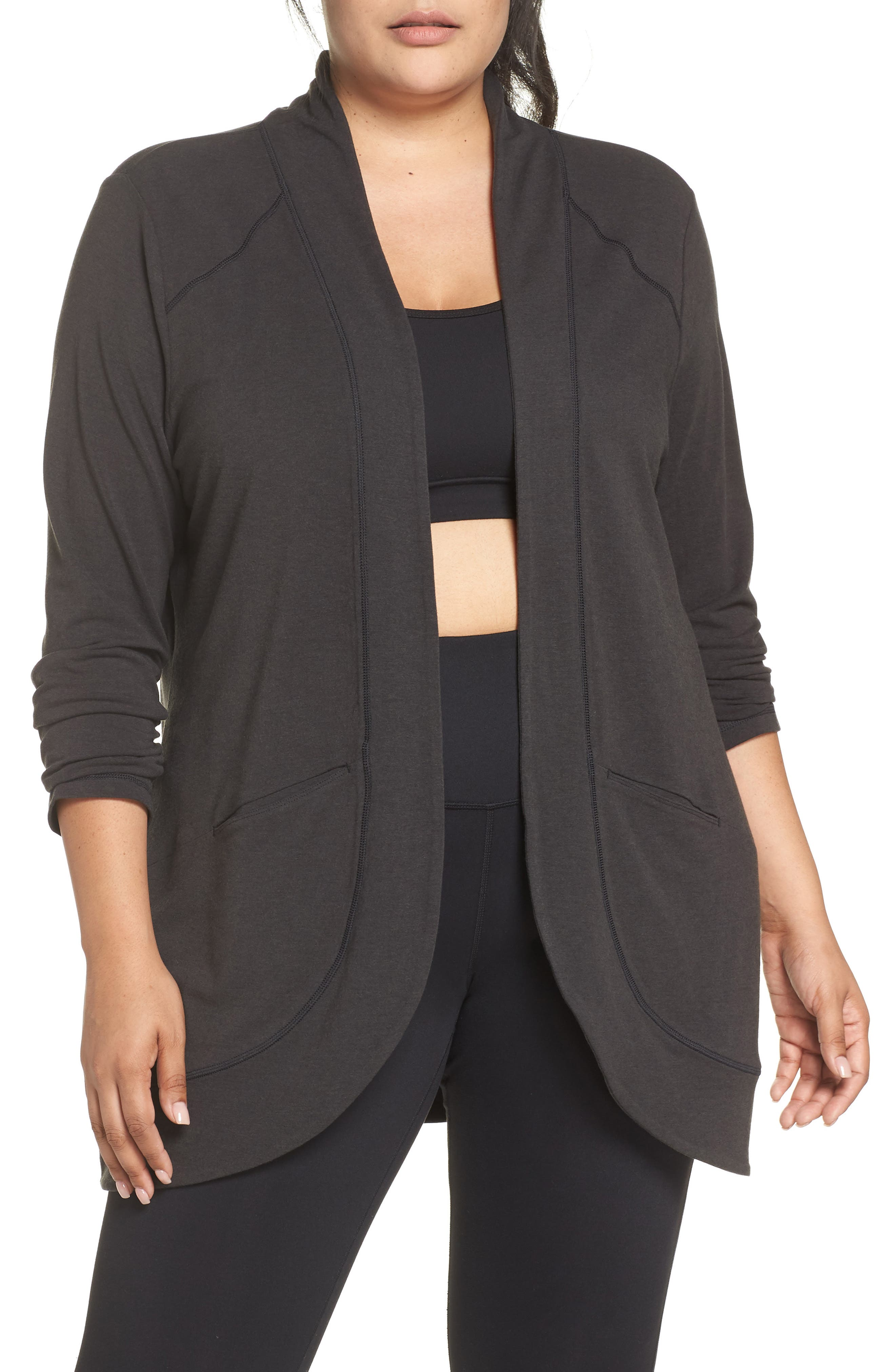 French Terry Cardigan,                             Main thumbnail 1, color,                             CHARCOAL BLACK / NAVY