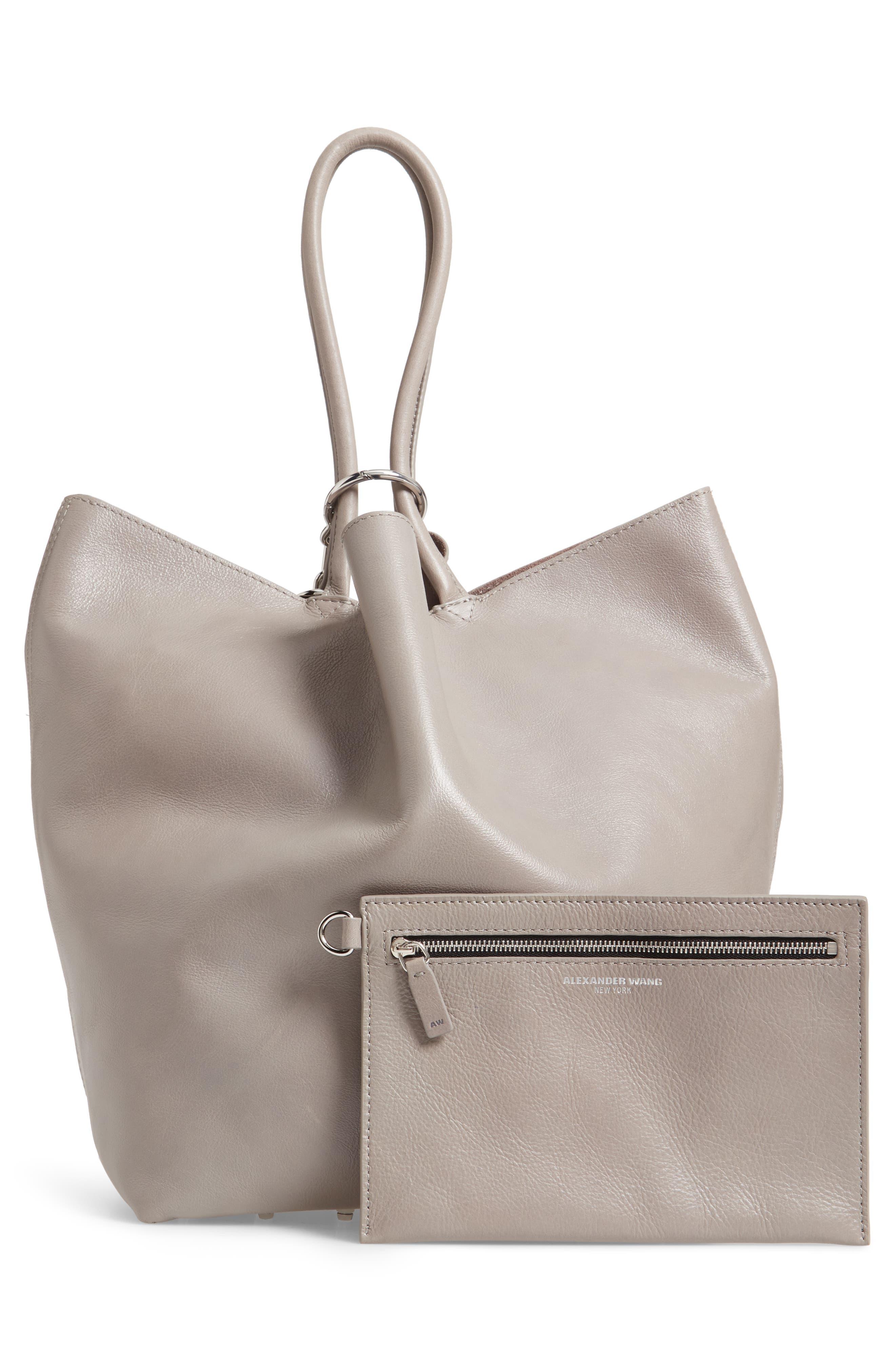 Roxy Large Leather Tote Bag,                             Alternate thumbnail 3, color,                             SLATE
