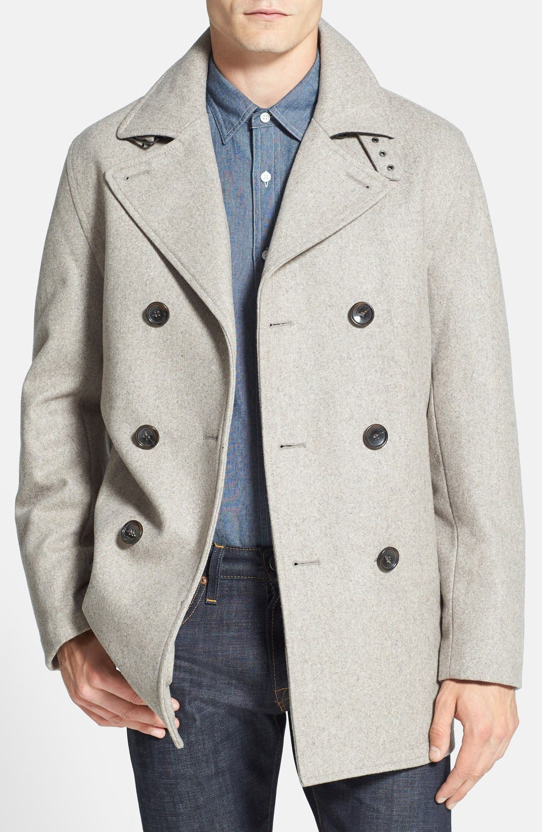 Wool Blend Double Breasted Peacoat,                             Main thumbnail 13, color,