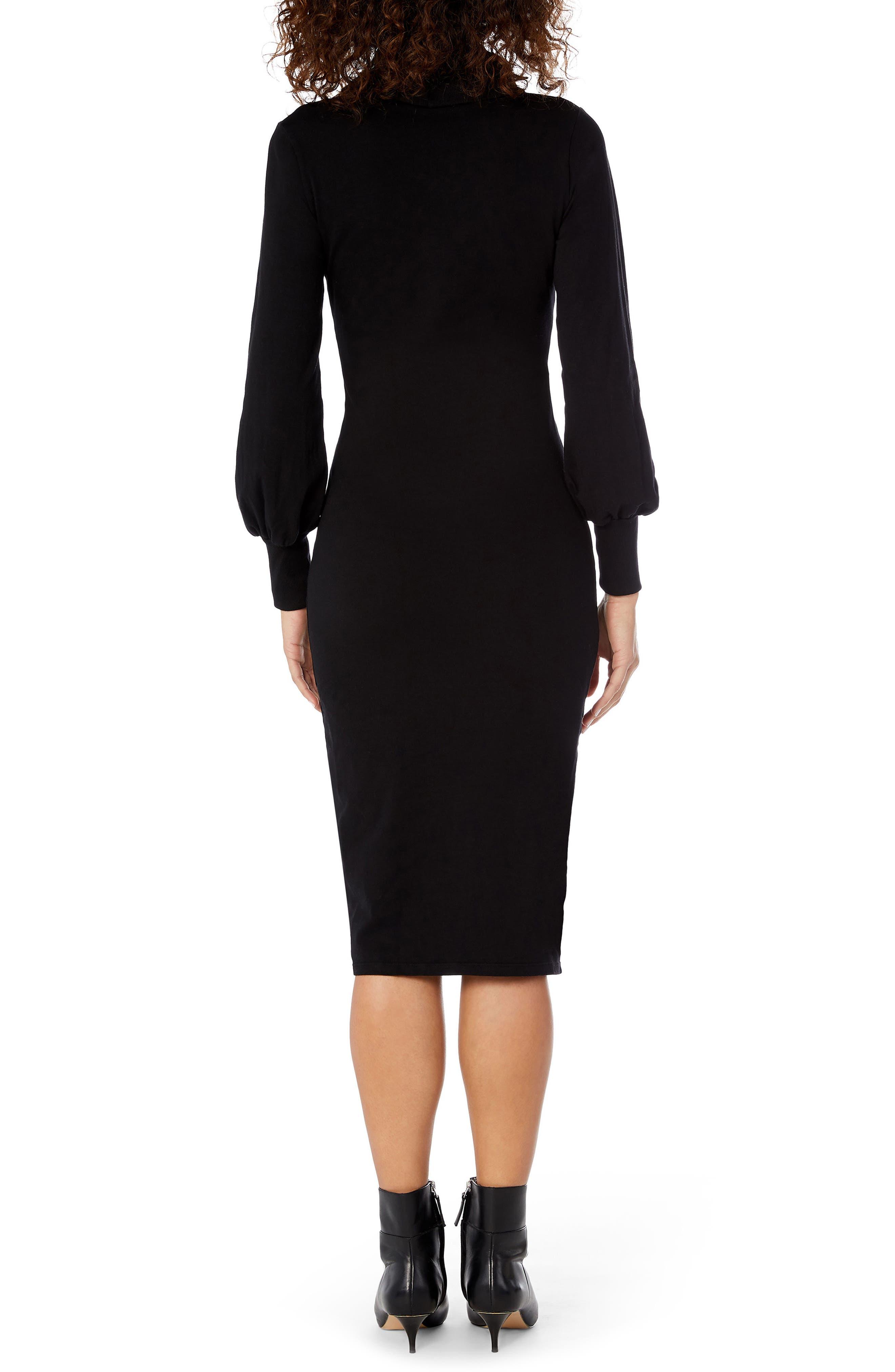Cowl Neck Body-Con Dress,                             Alternate thumbnail 2, color,                             001