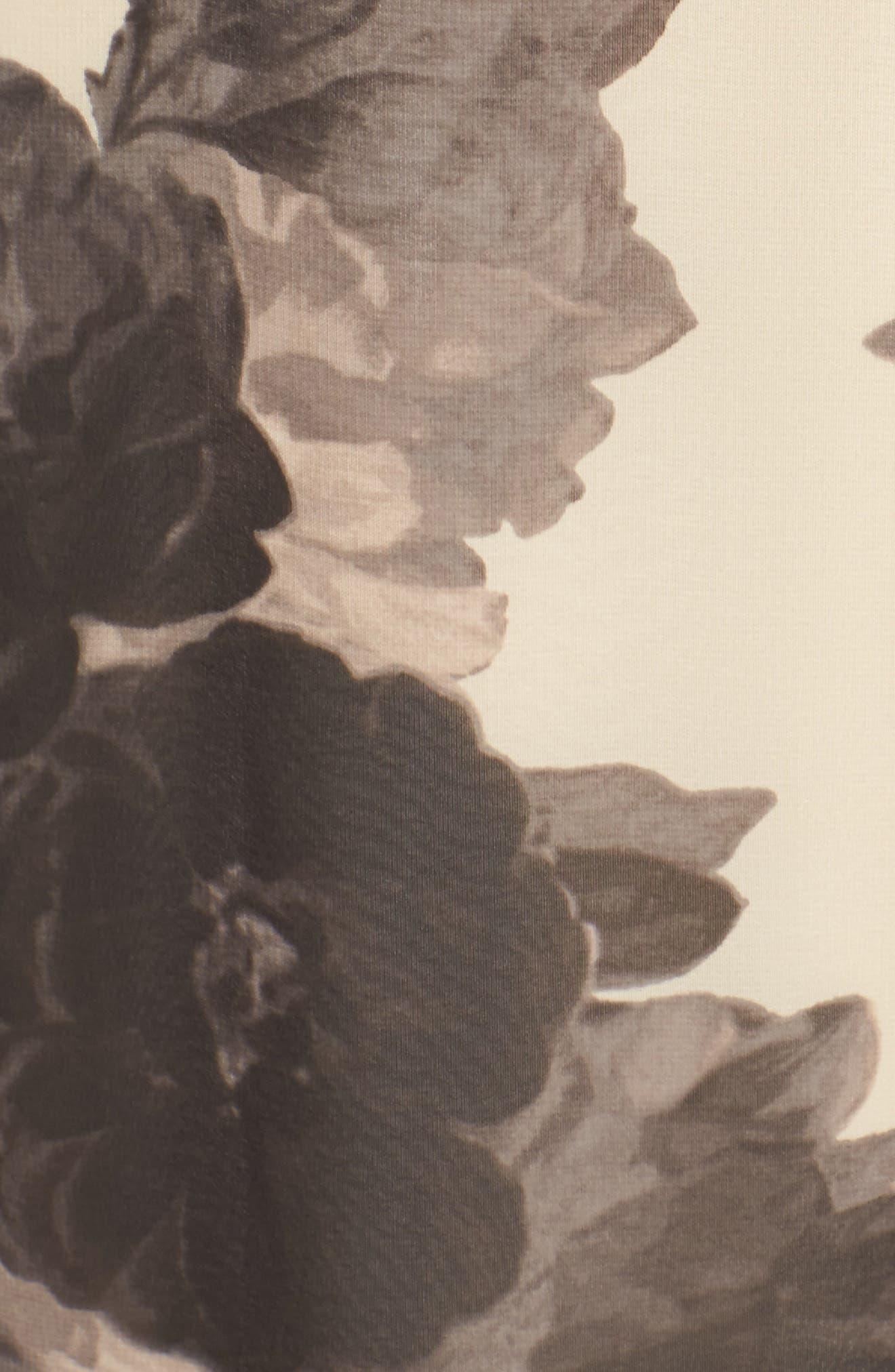 Floral Print Chiffon Maxi Dress,                             Alternate thumbnail 8, color,                             TAUPE/ BLACK