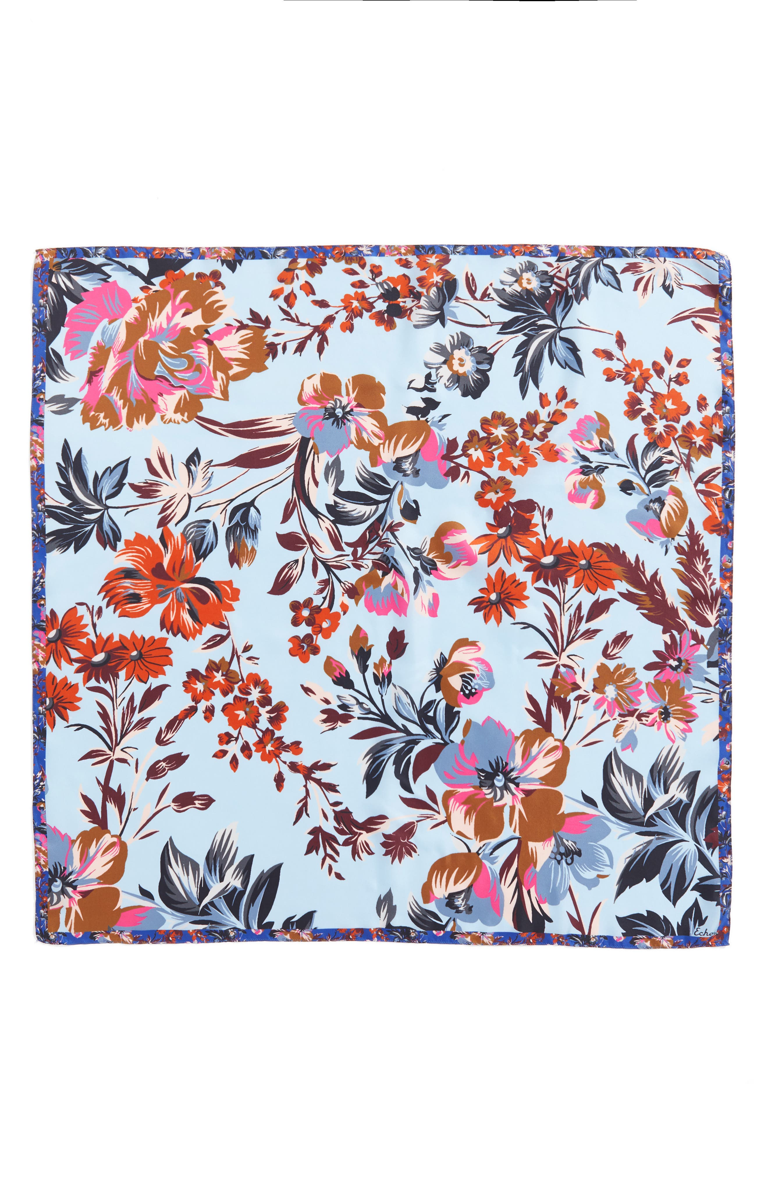 Highgate Floral Square Silk Scarf,                             Alternate thumbnail 6, color,