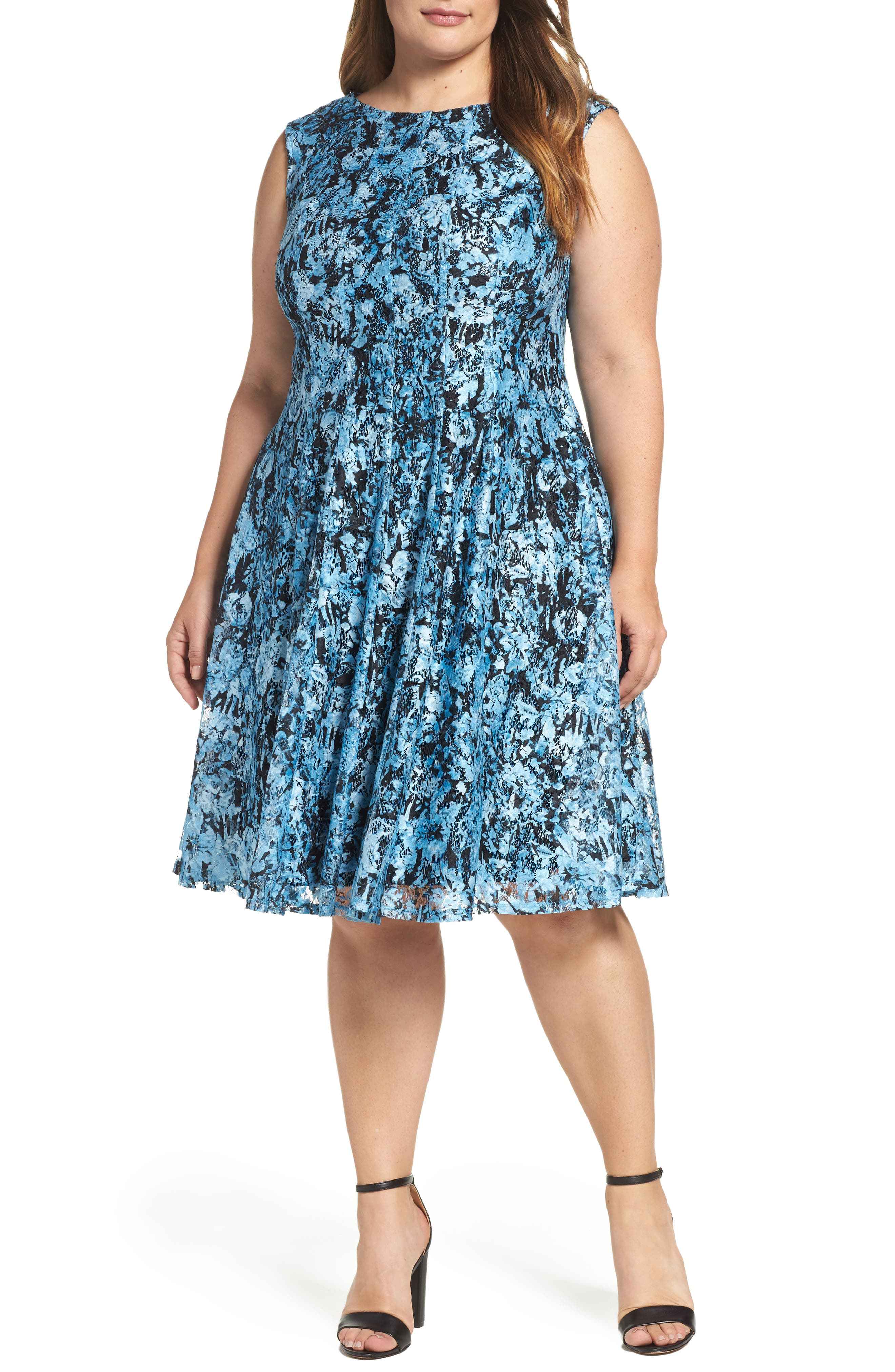 Print Lace Fit & Flare Dress,                             Main thumbnail 1, color,                             400