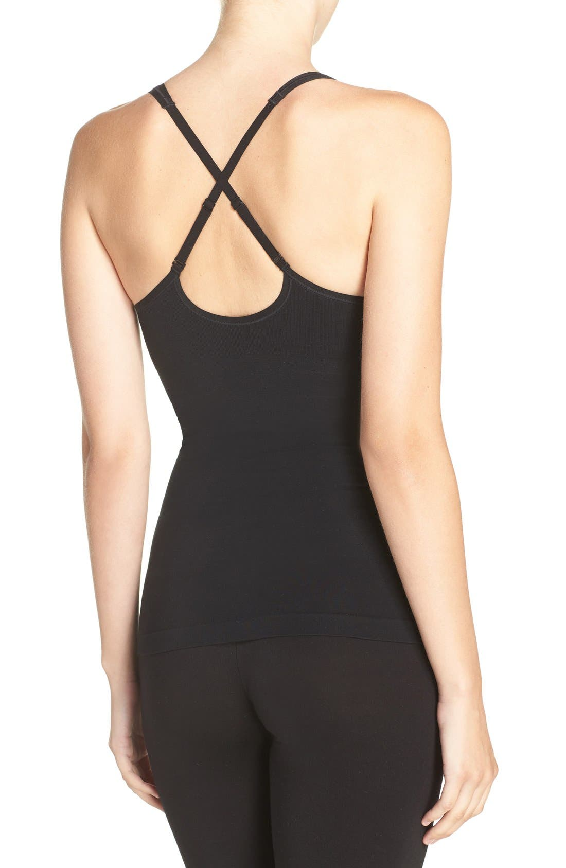 Adella Convertible Smoother Camisole,                             Alternate thumbnail 2, color,                             BLACK