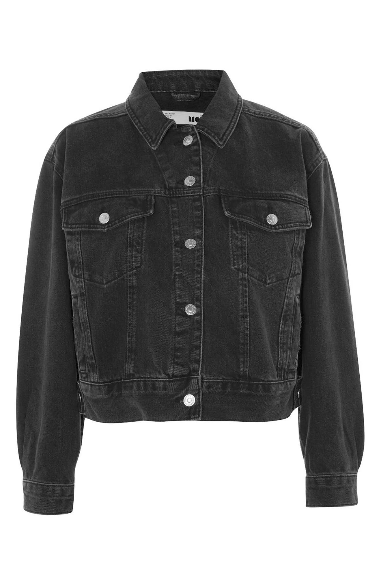 Boxy Crop Denim Jacket,                             Alternate thumbnail 3, color,                             WASHED BLACK