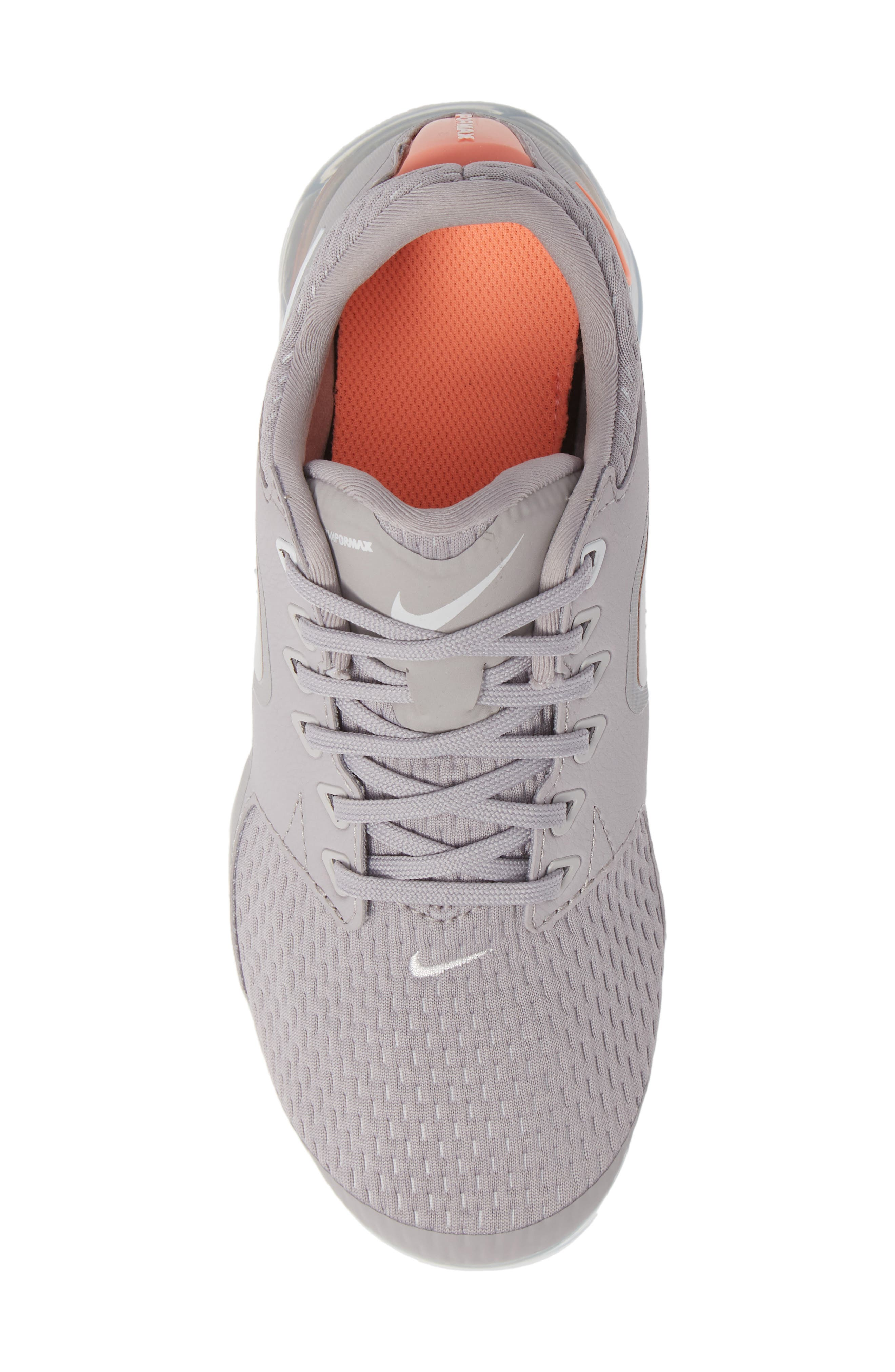 Air VaporMax GS Running Shoe,                             Alternate thumbnail 5, color,                             ATMOSPHERE GREY/ WHITE