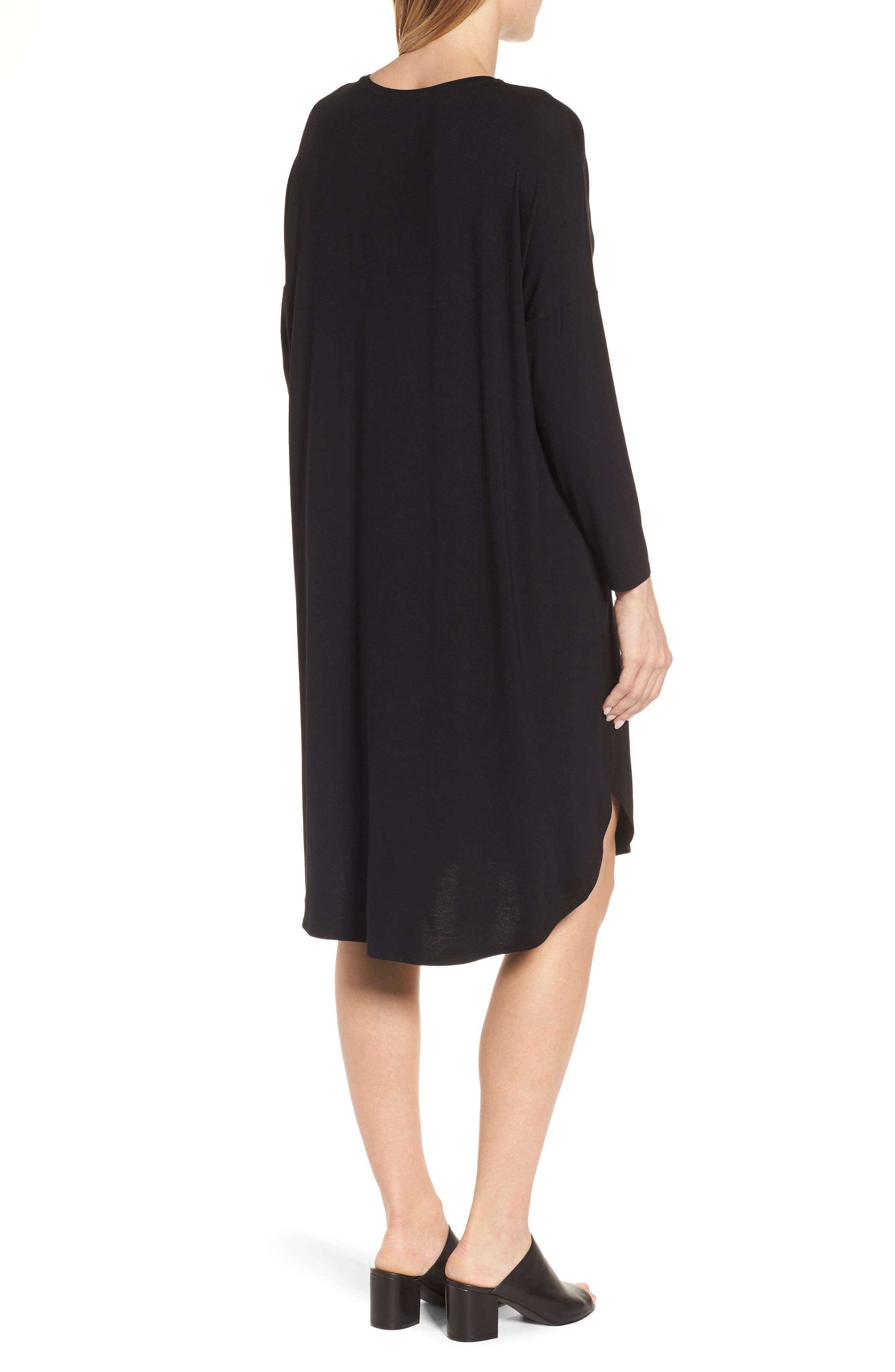 Shirttail Jersey Shift Dress,                             Alternate thumbnail 2, color,                             001