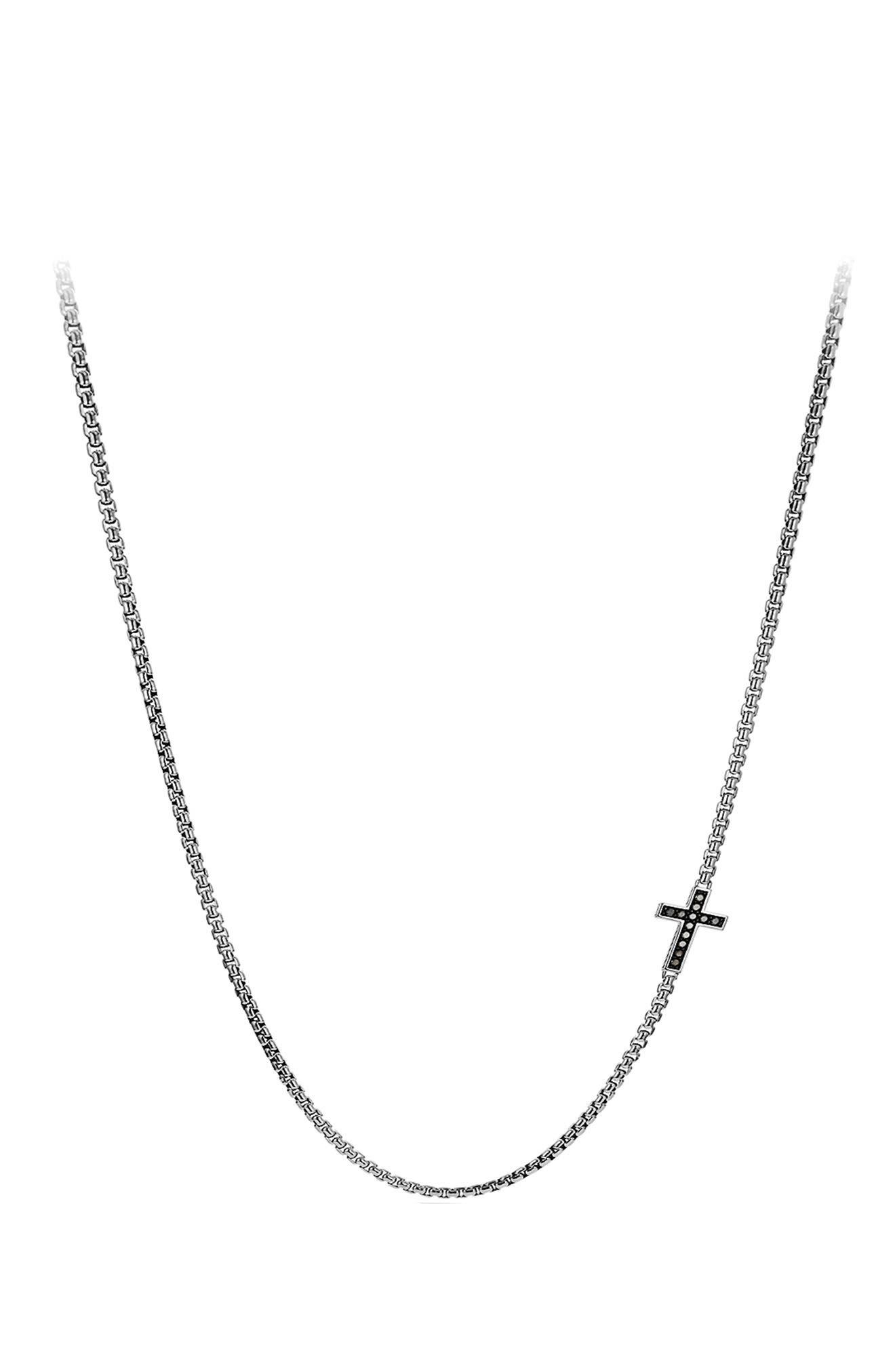 Pavé Cross Necklace with Diamonds,                             Main thumbnail 1, color,                             BLACK DIAMOND