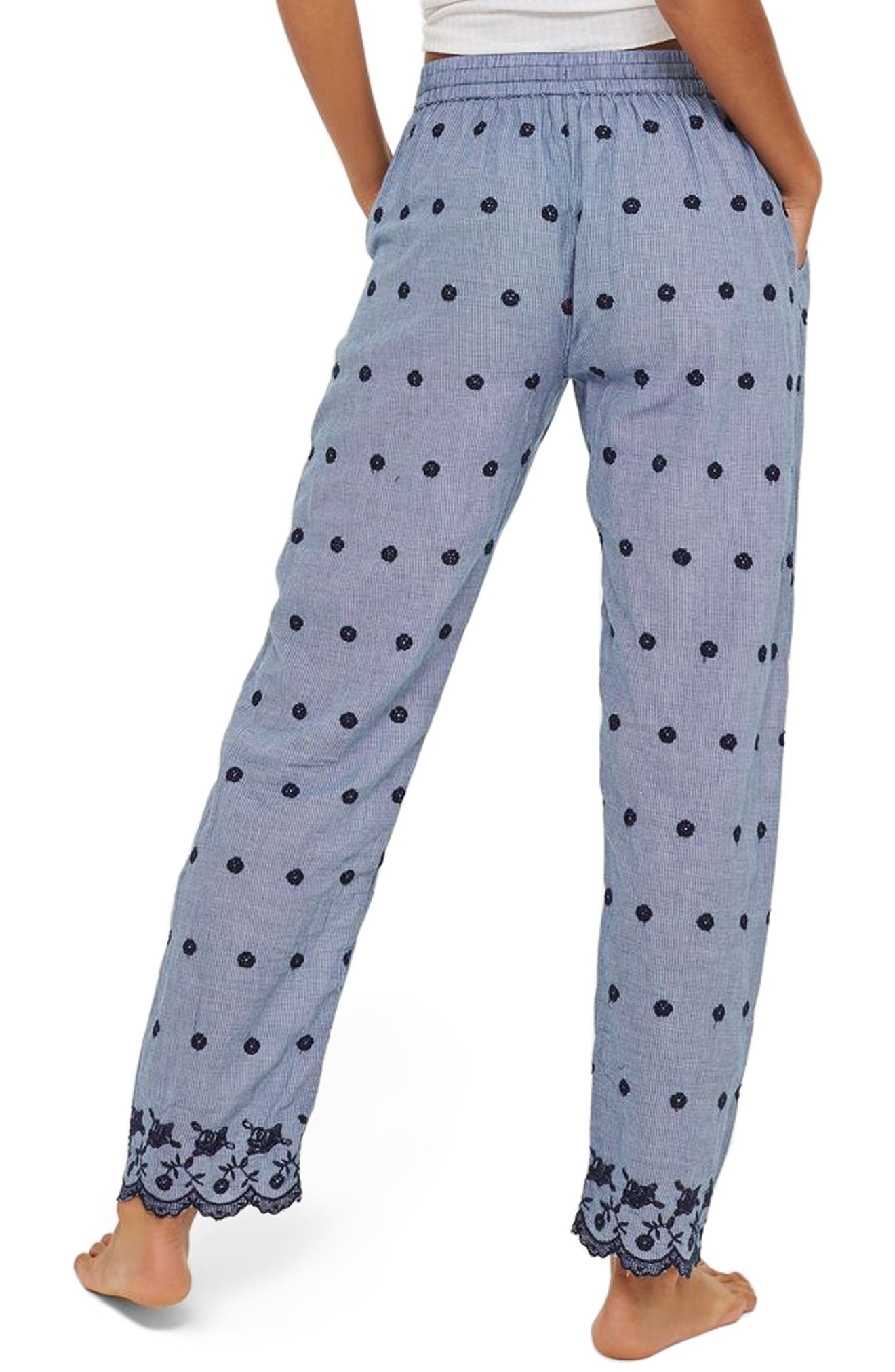 Embroidered Gingham Pajama Pants,                             Alternate thumbnail 2, color,