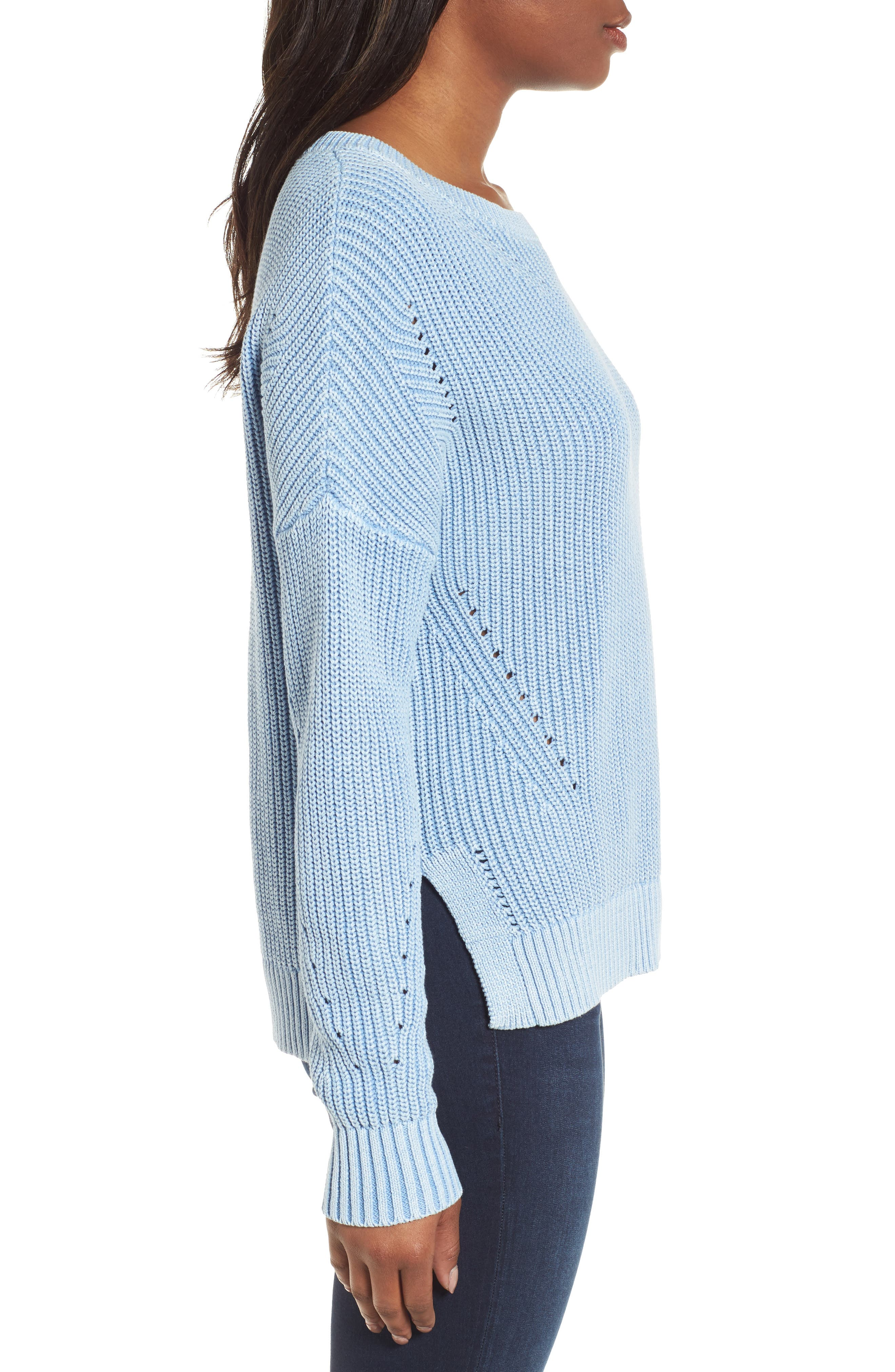 Shaker Stitch Cotton Sweater,                             Alternate thumbnail 5, color,