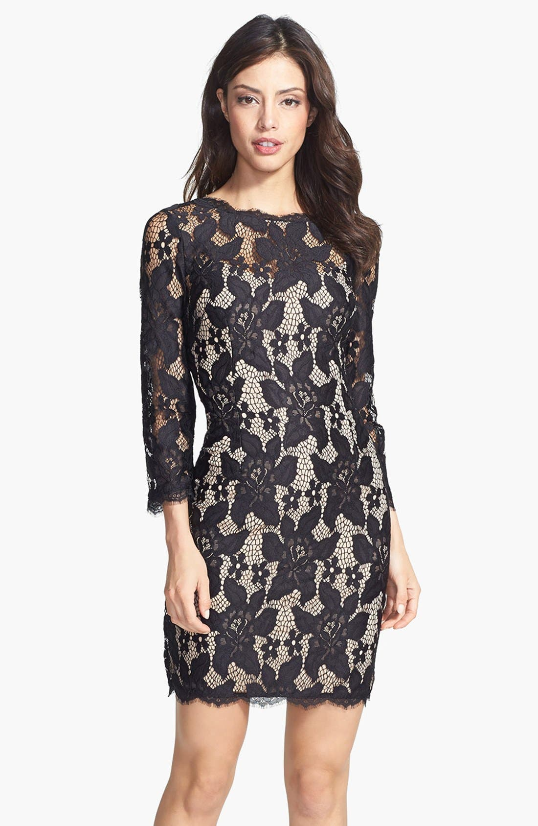 Long Sleeve Lace Cocktail Dress,                         Main,                         color, 001