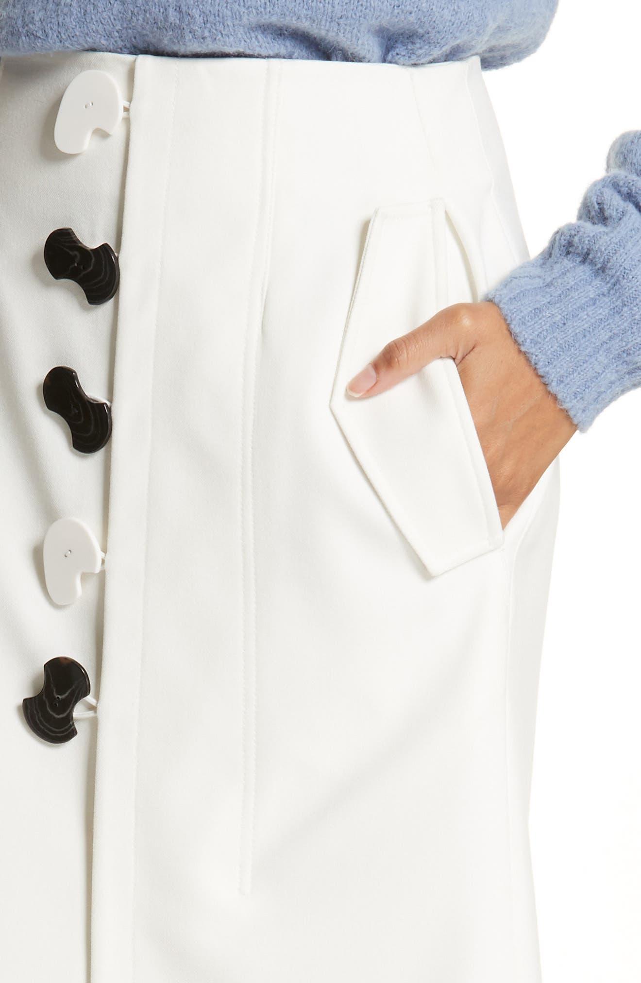 Mora Asymmetrical Faux Wrap Skirt,                             Alternate thumbnail 4, color,                             903