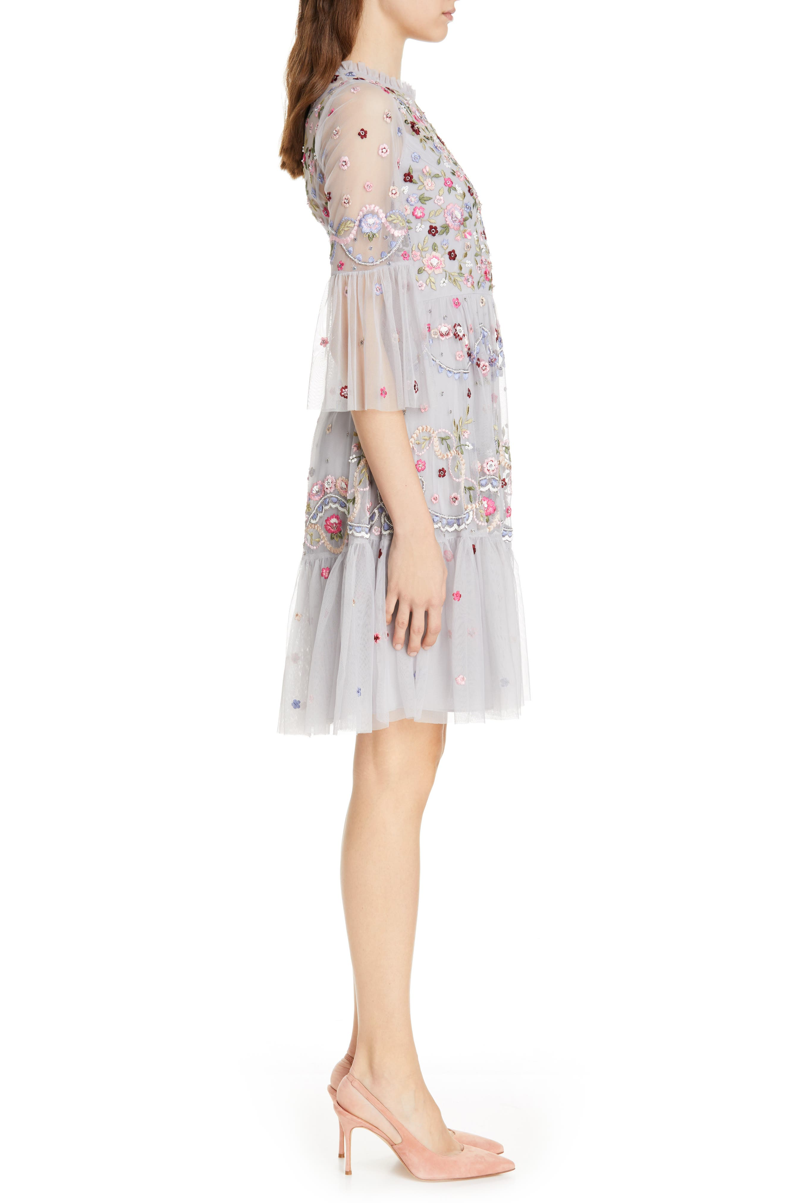 NEEDLE & THREAD,                             Dreamers Embroidered Tulle Dress,                             Alternate thumbnail 3, color,                             DUSK BLUE