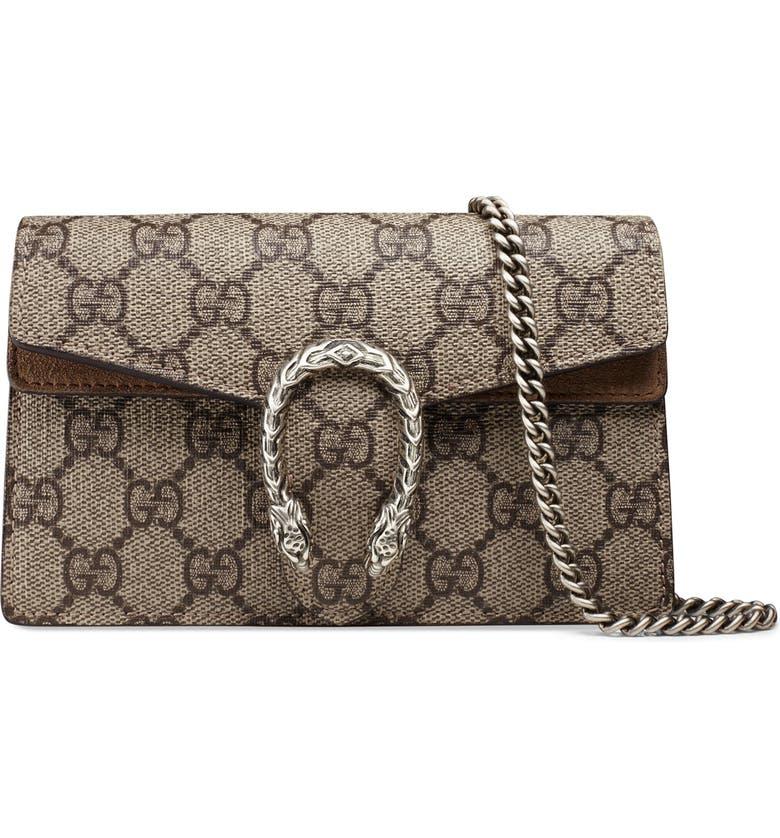 b67921005baa Gucci Super Mini Dionysus GG Supreme Canvas   Suede Shoulder Bag ...
